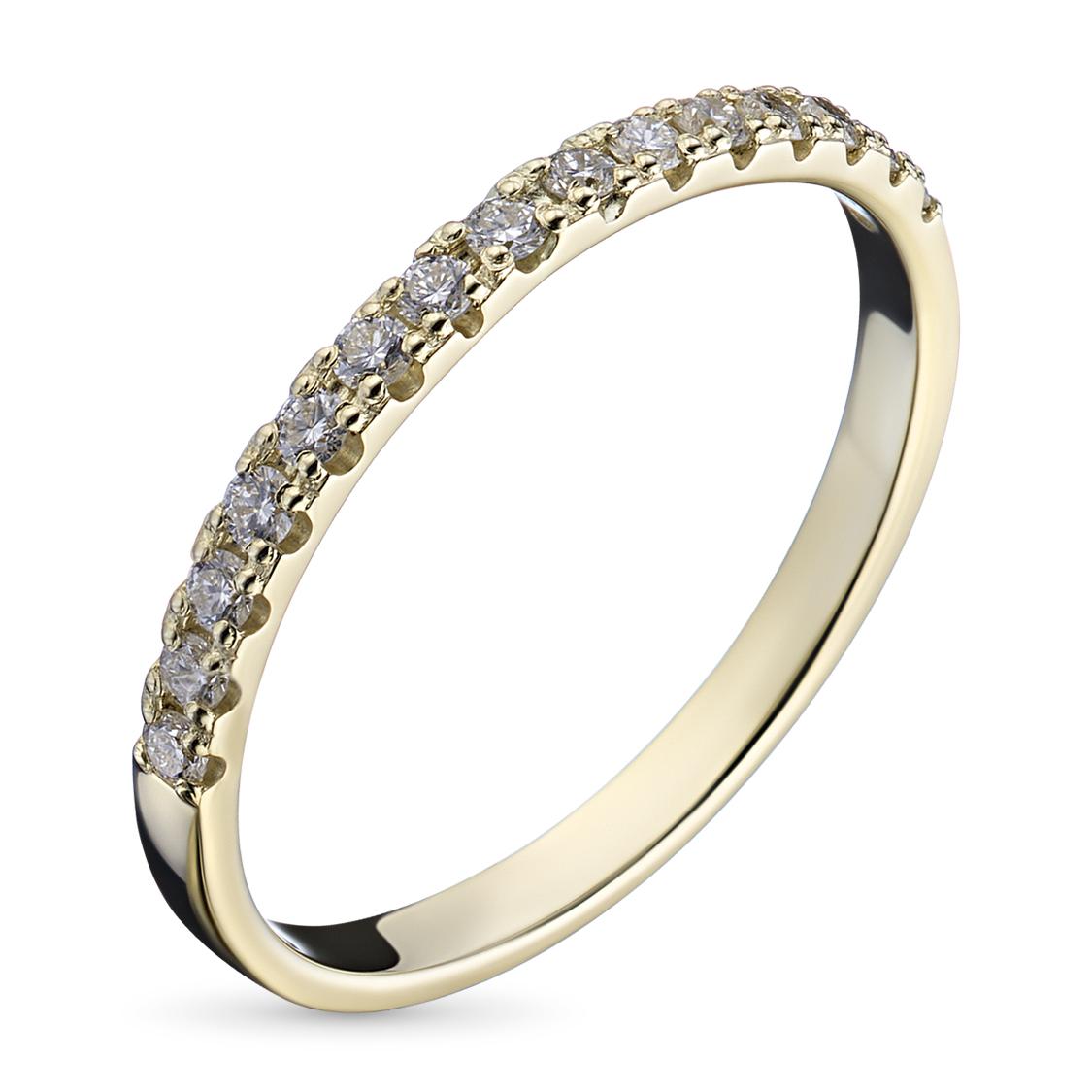Кольцо из желтого золота с бриллиантом э03к081611