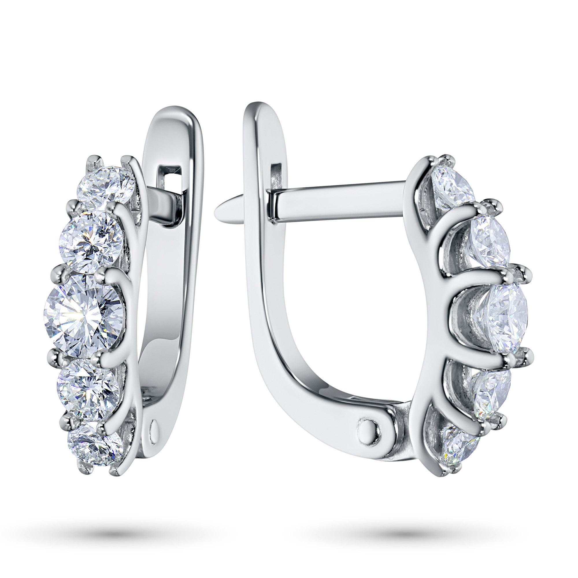 Серьги из белого золота с бриллиантами э0901сг04173400 э0901сг04173400
