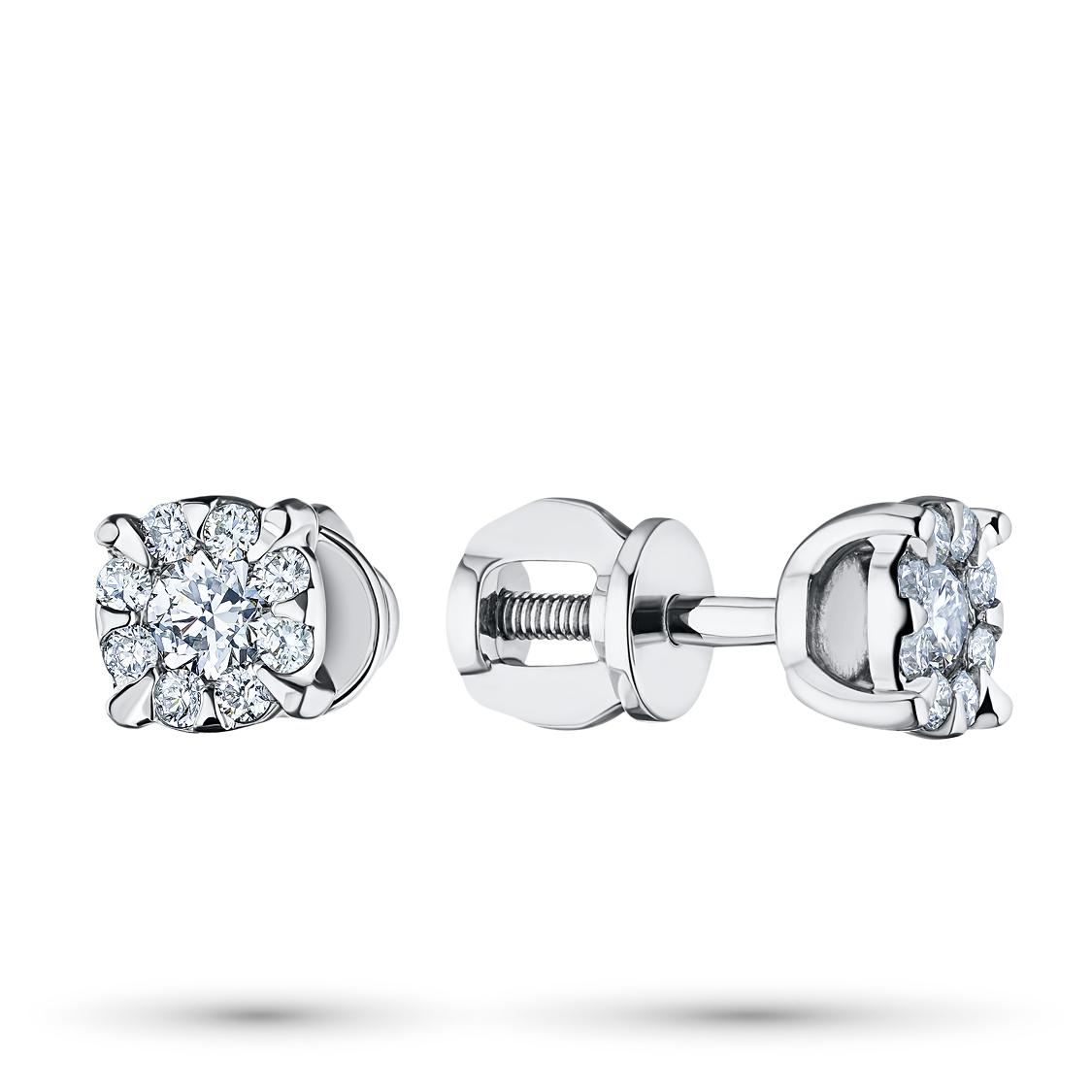 Пусеты из белого золота с бриллиантами э0901пс10153800 фото