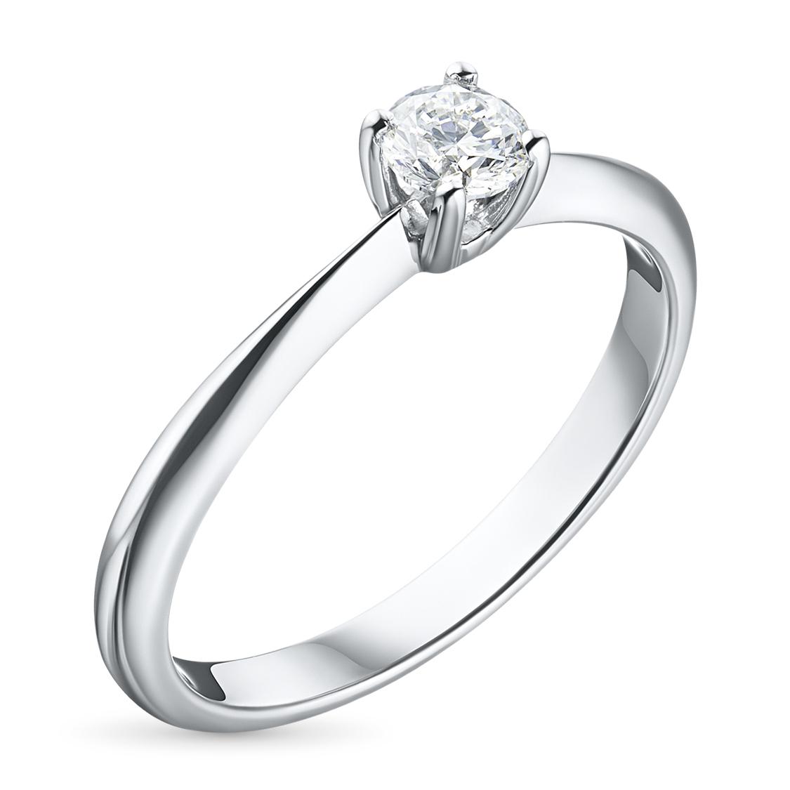Кольцо из белого золота с бриллиантом э09к041642