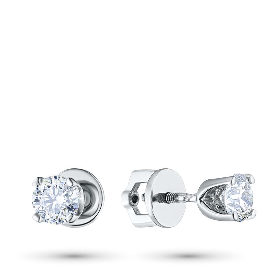 Пусеты из белого золота с бриллиантом п09с111024