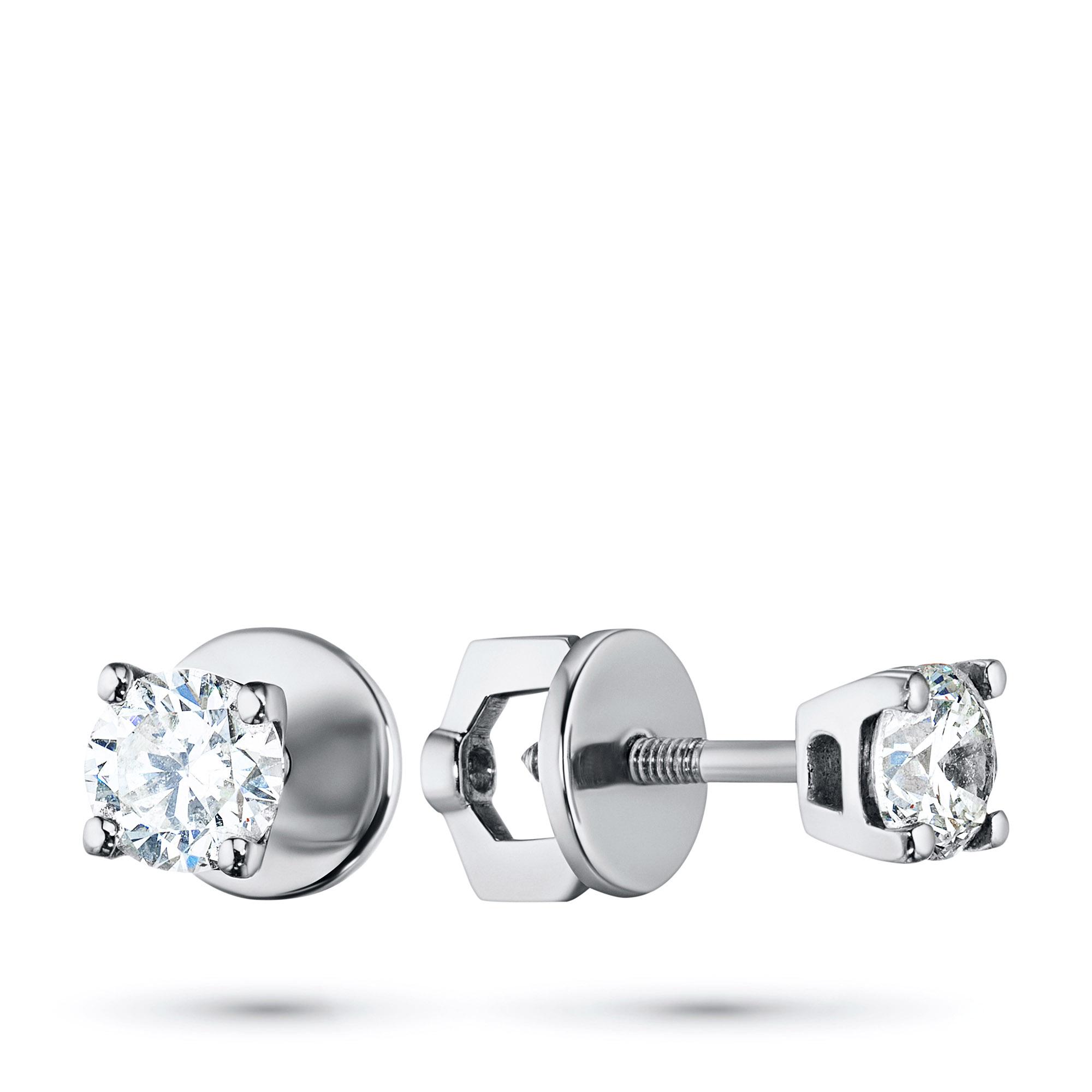 Пусеты из белого золота с бриллиантом п09с111022