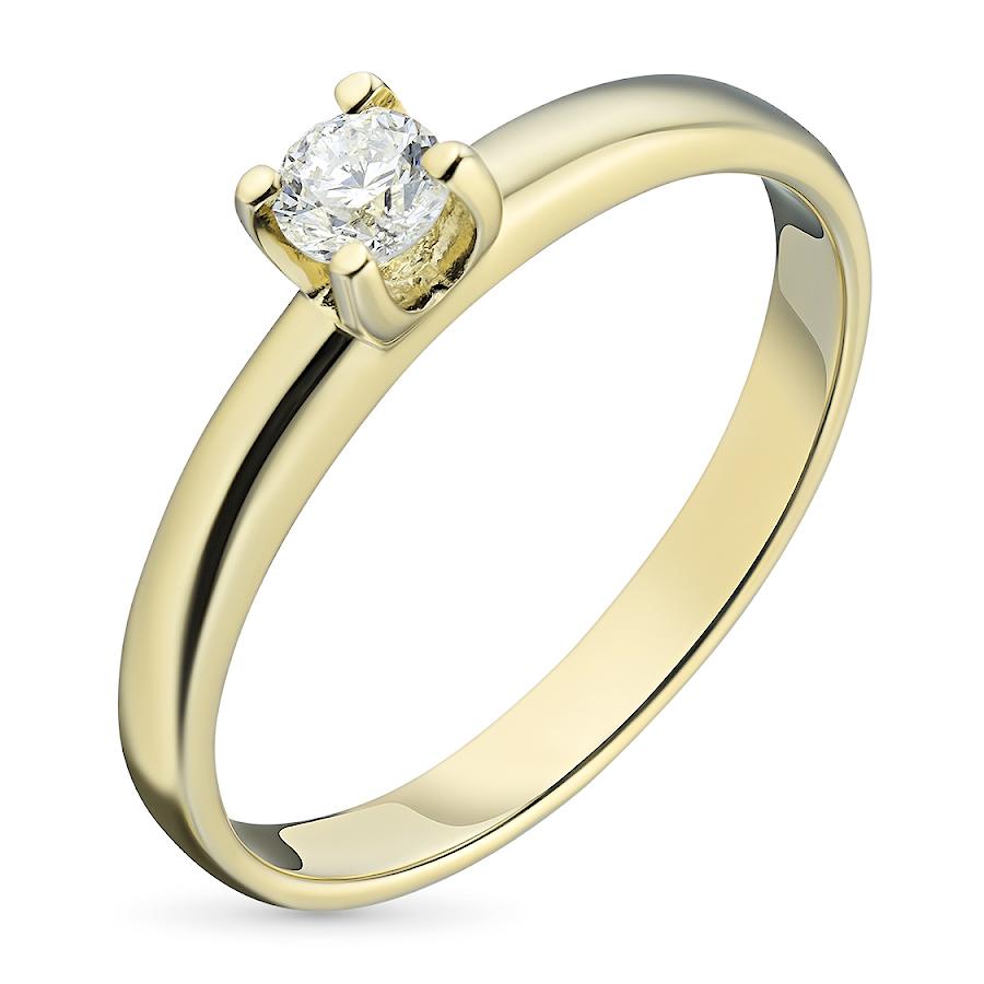 Кольцо из желтого золота с бриллиантом э03к111024
