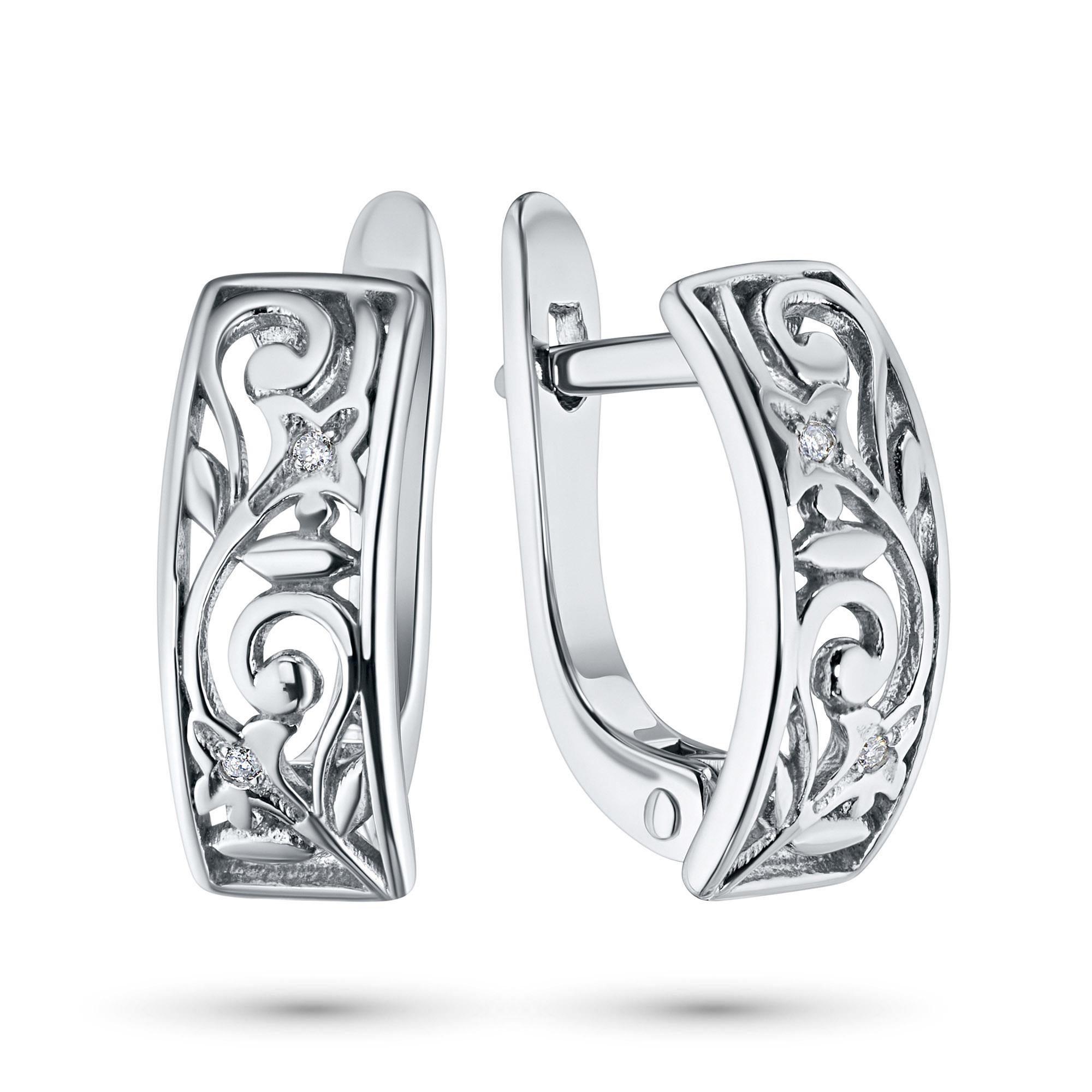 Серьги из серебра с бриллиантами э06с091526