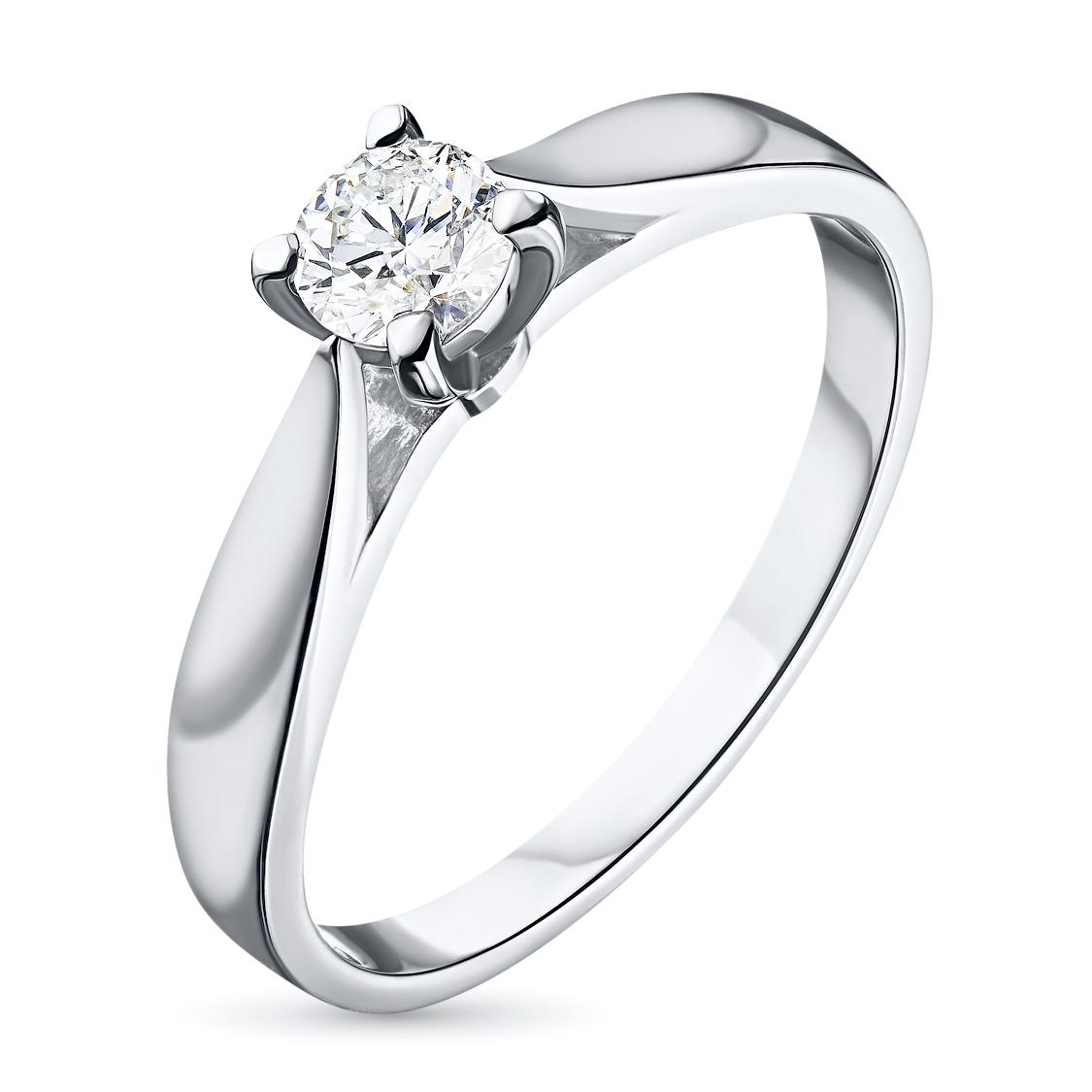 Кольцо из белого золота с бриллиантом э09к101515