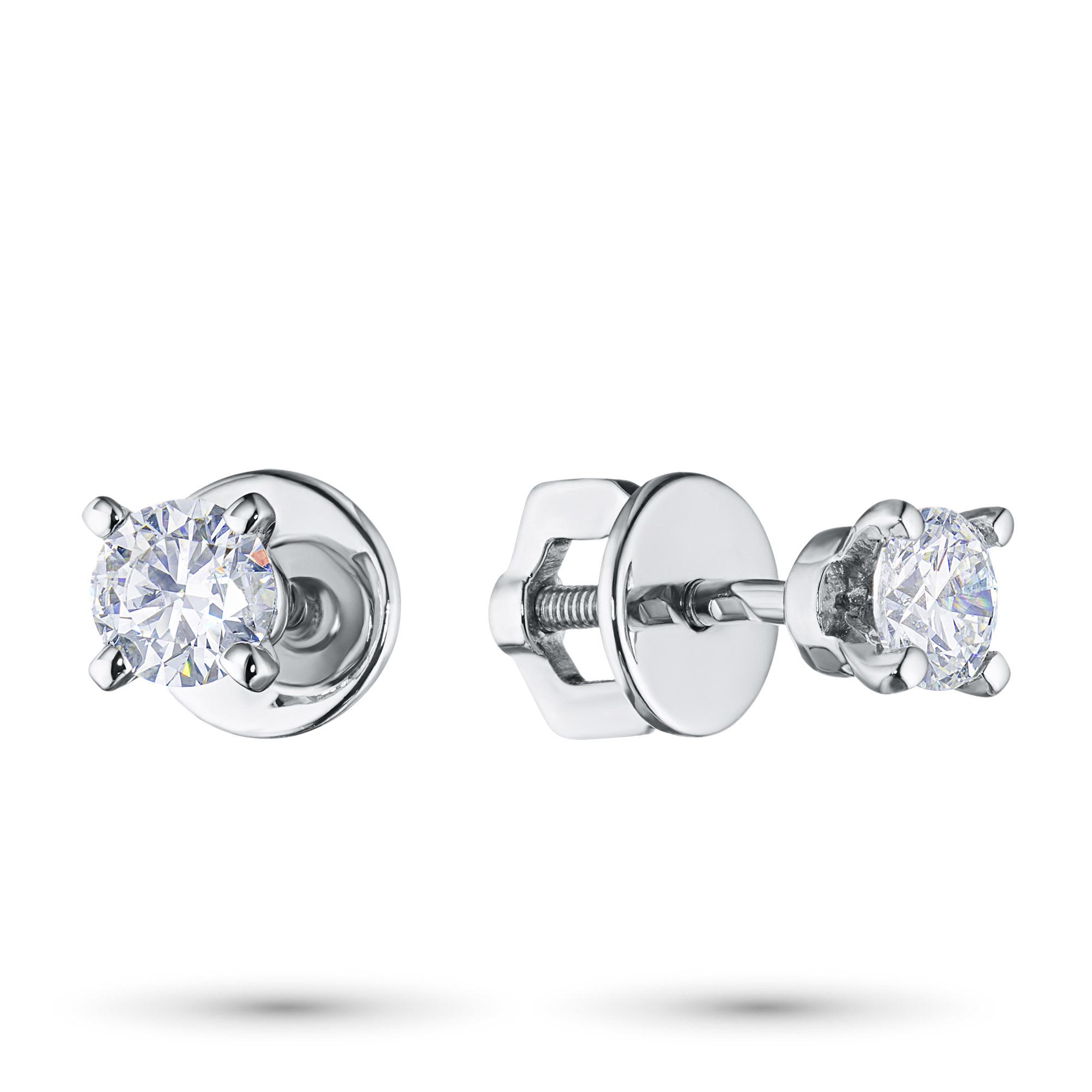 Пусеты из белого золота с бриллиантами п09с040802