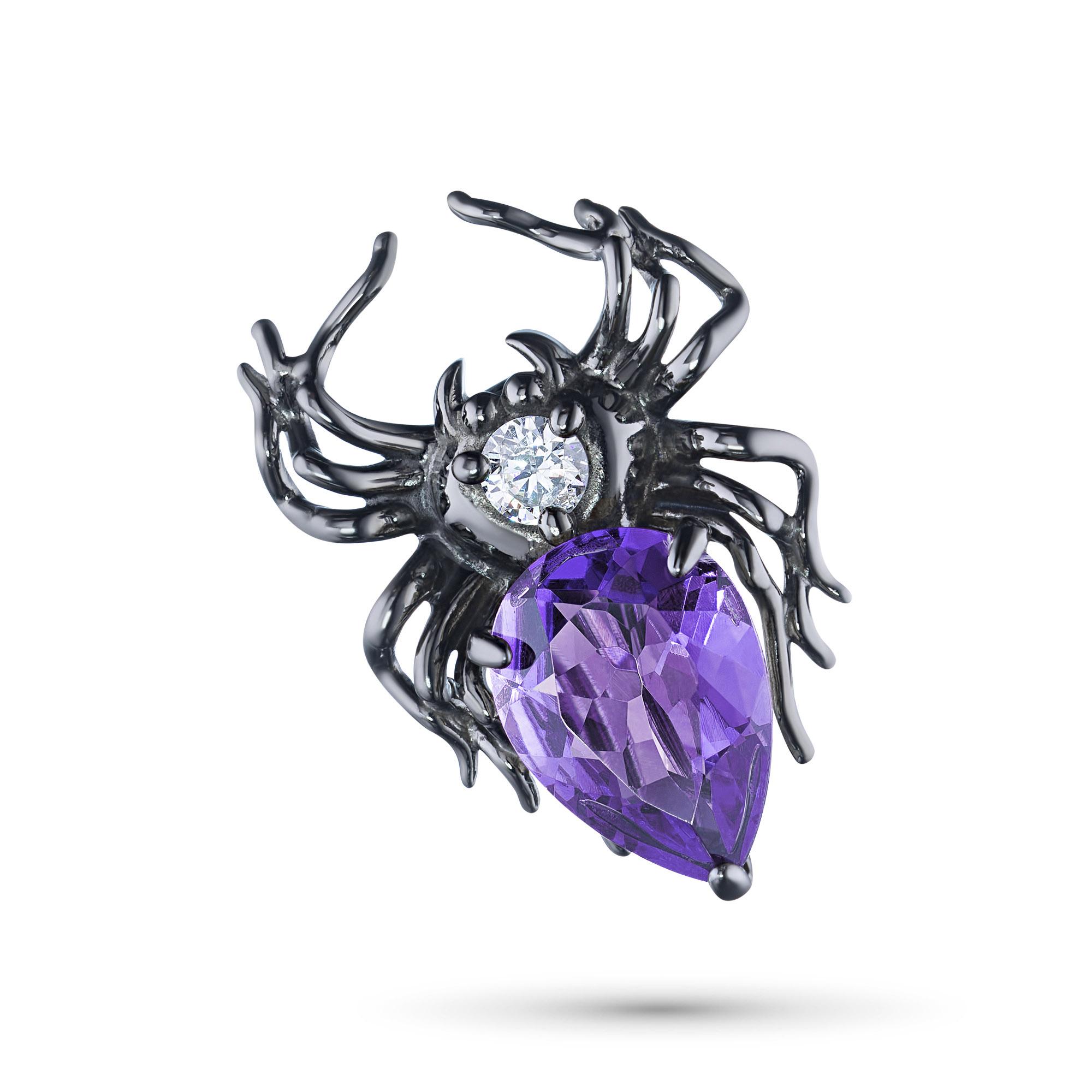Брошь из серебра с аметистом и фианитом э0607бш04200623