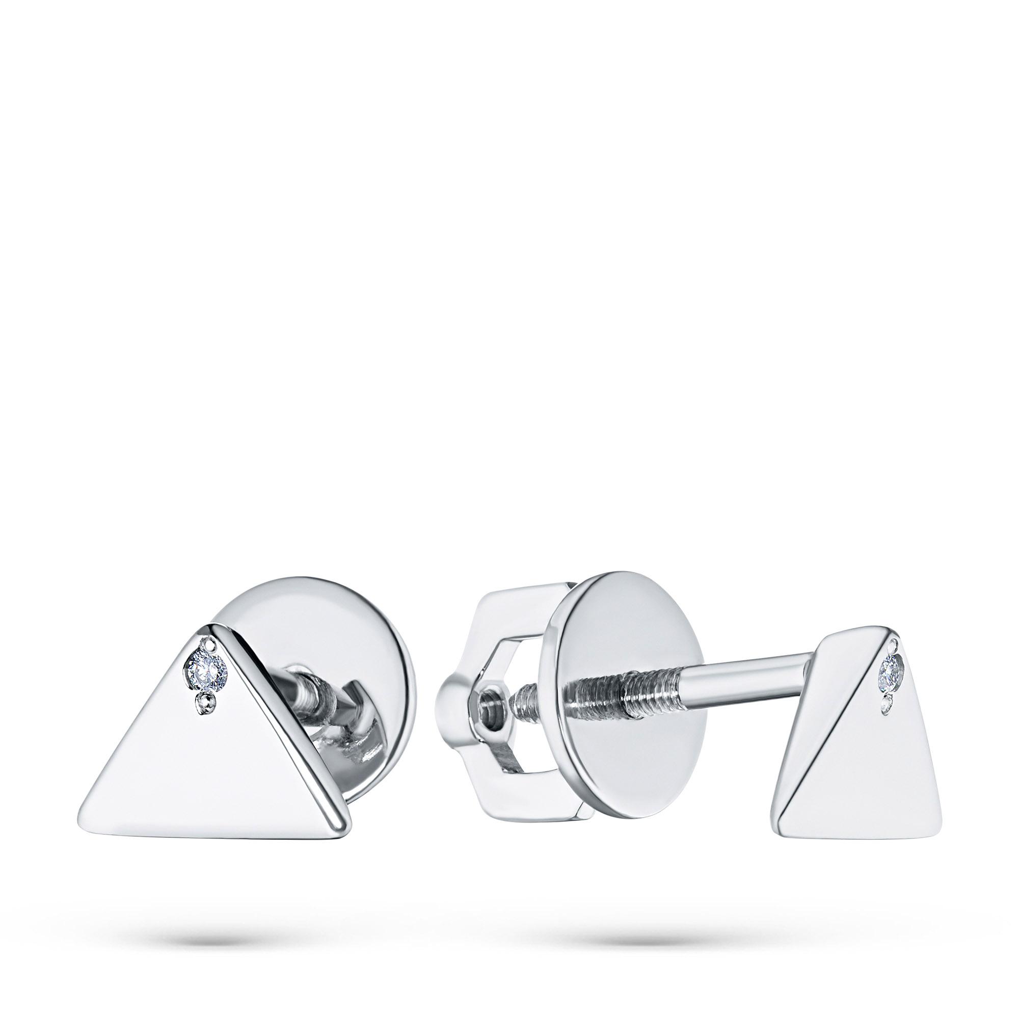 Пусеты из серебра с бриллиантом п06с031925