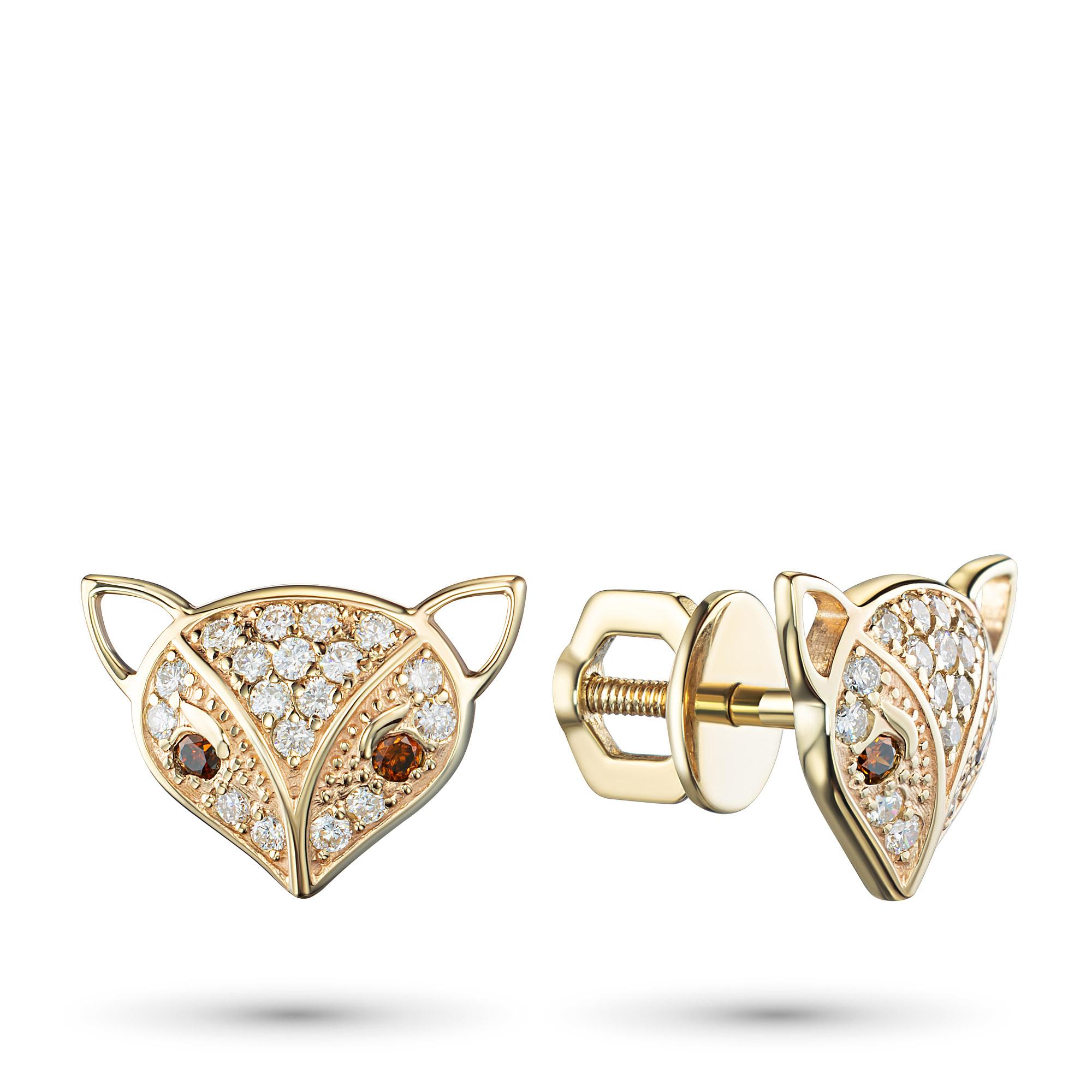Пусеты из желтого золота с бриллиантами э0301пс02211007