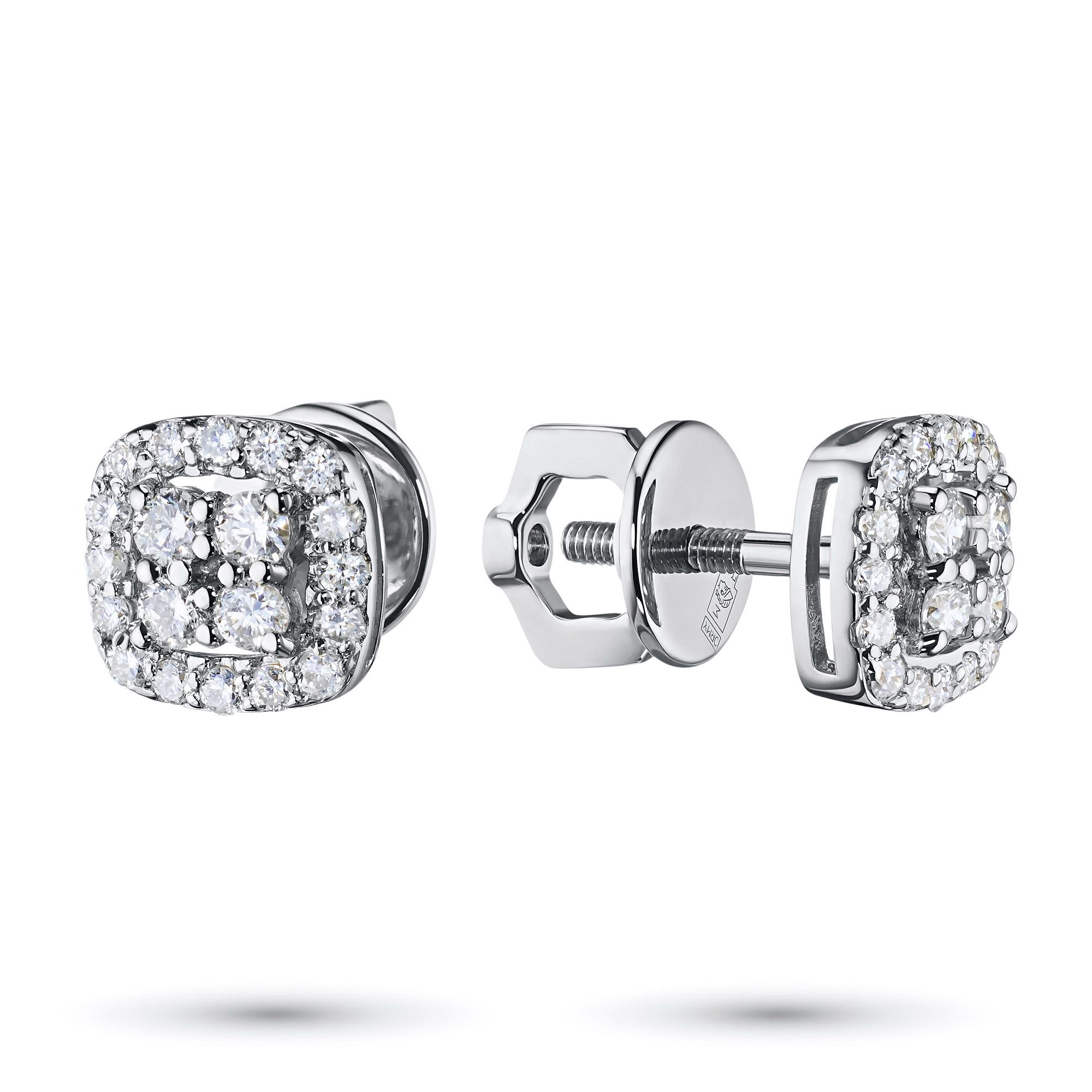 Пусеты из белого золота с бриллиантами э0901пс03174000 э0901пс03174000