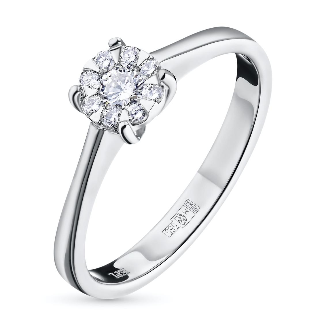 Кольцо из белого золота с бриллиантами э09к101538