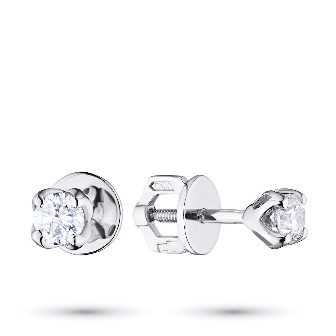 Пусеты из белого золота с бриллиантами п09с011631