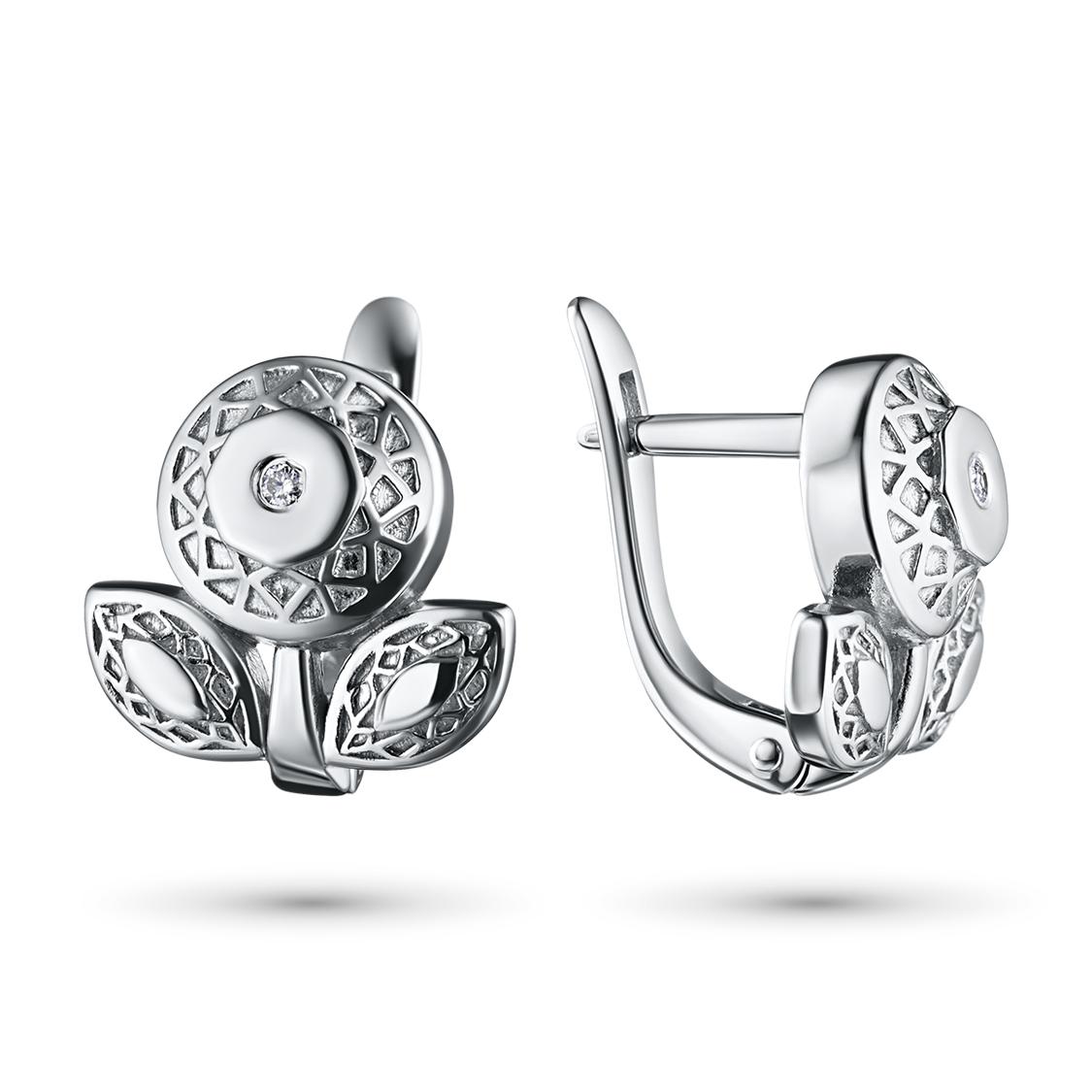Серьги из серебра с бриллиантами э06сЛоготип