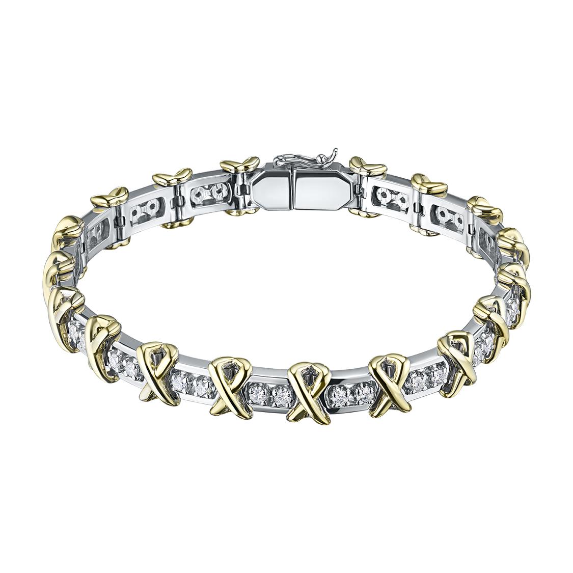 Браслет из комбинированного золота с бриллиантами э10Бр101627