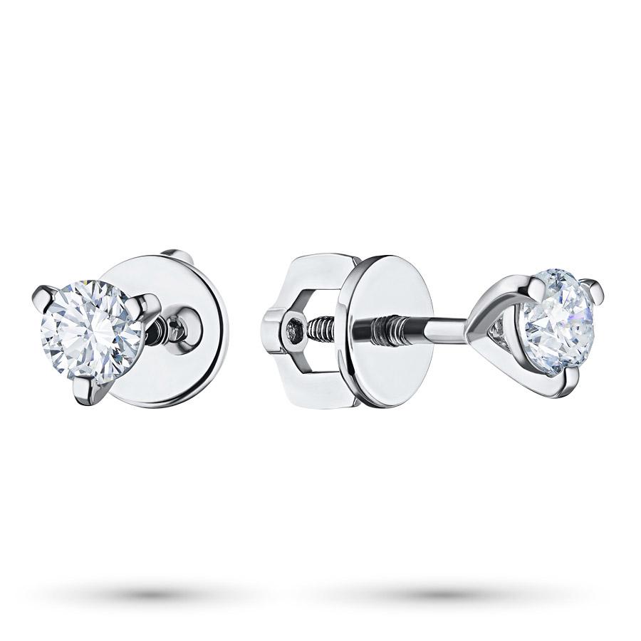 Пусеты из белого золота с бриллиантами п09с051126