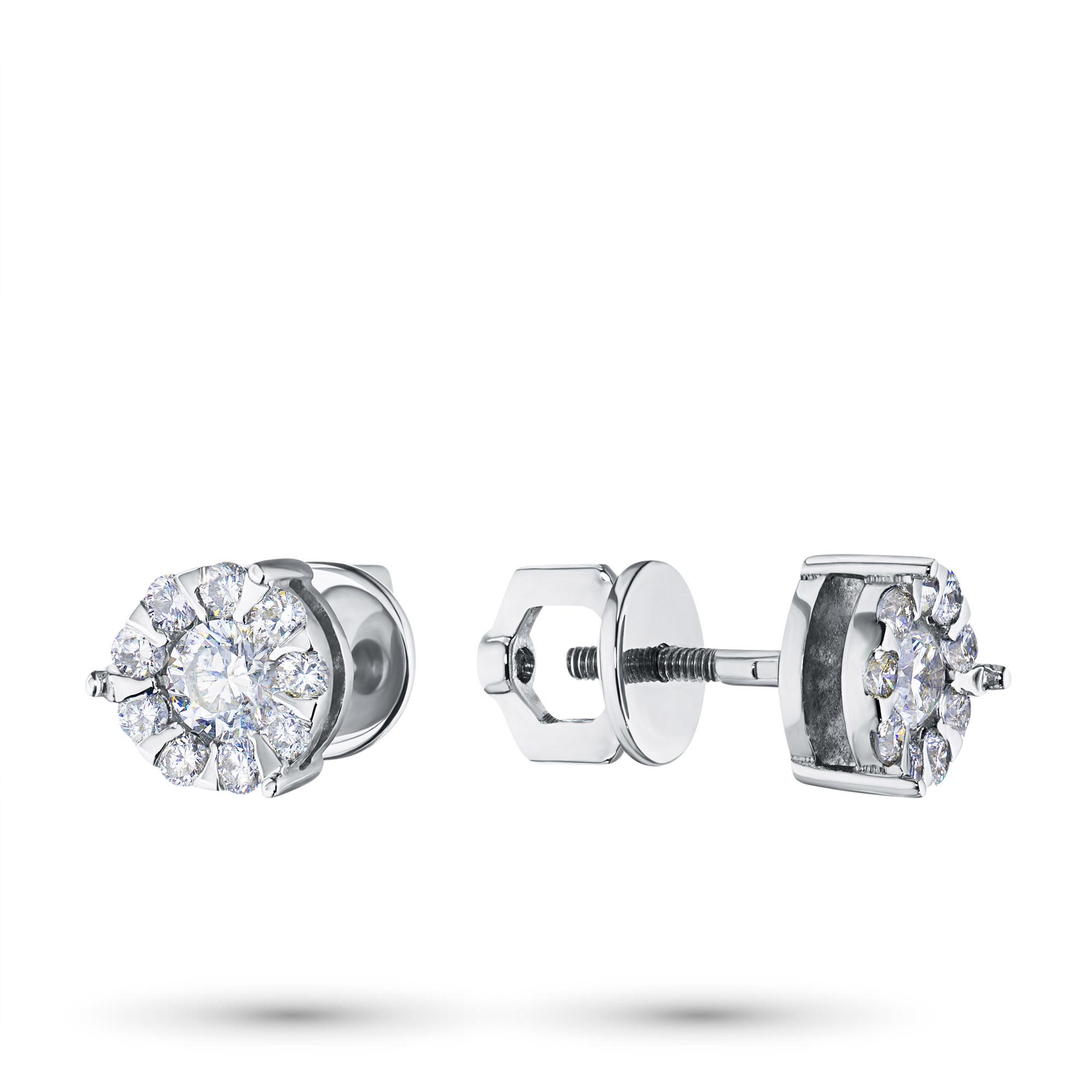 Пусеты из белого золота с бриллиантами п09с041408