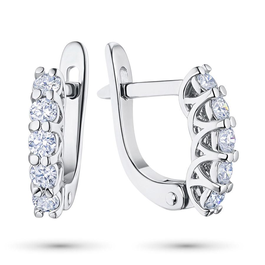 Серьги из белого золота с бриллиантами э09с041715