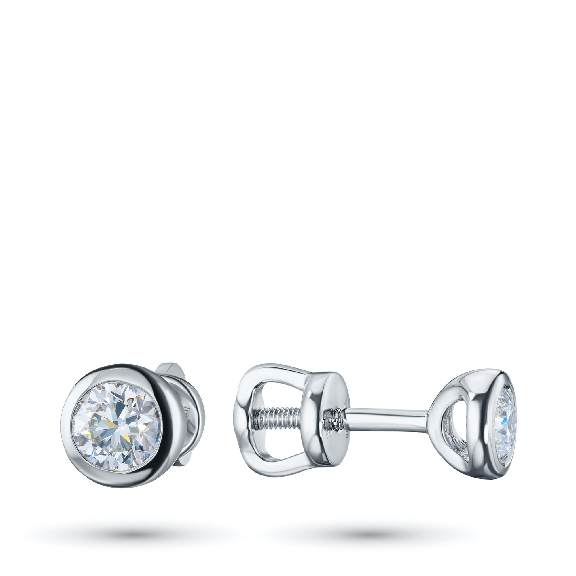 Пусеты из белого золота с бриллиантом э0901пс02210888