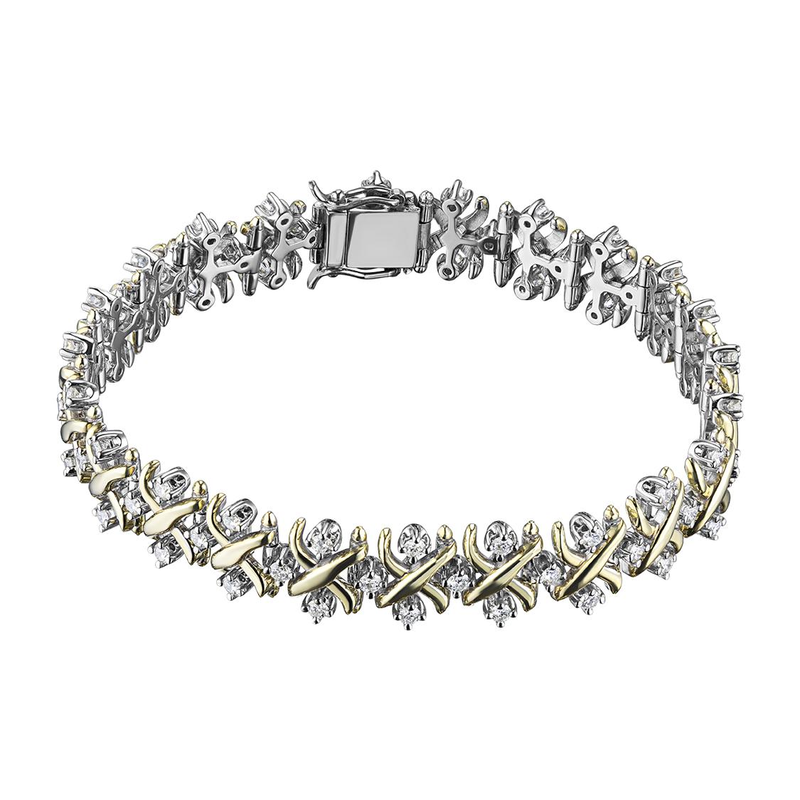 Браслет из комбинированного золота с бриллиантом э1001бр02150600