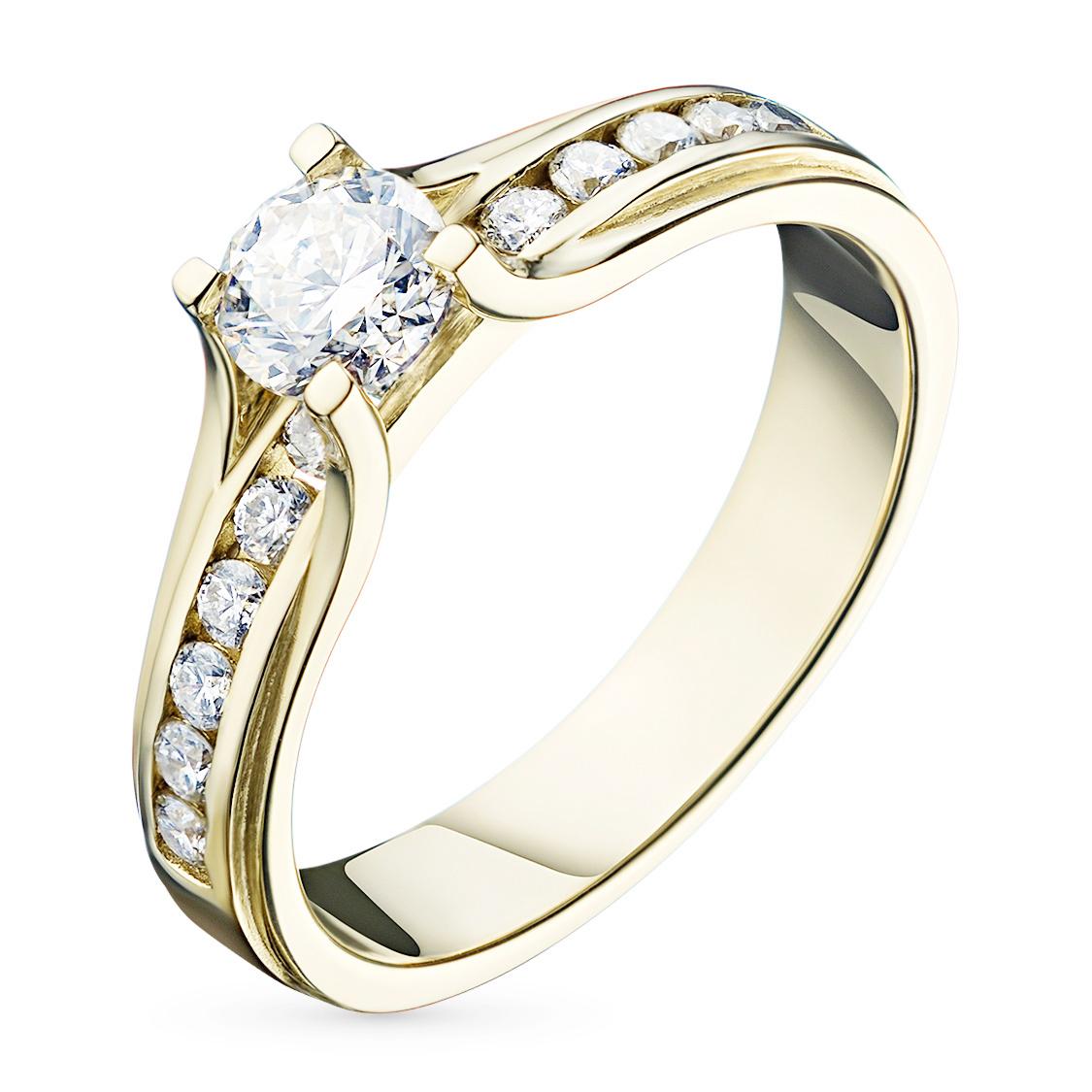 Кольцо из желтого золота с бриллиантами э03к091506