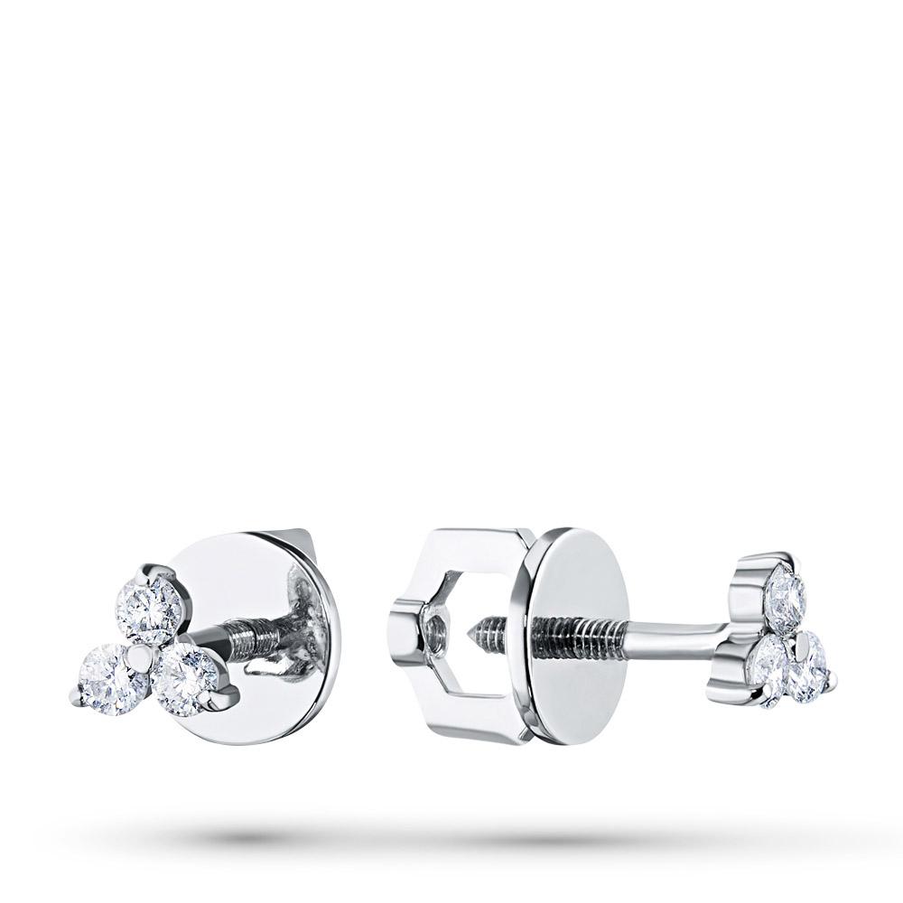 Пусеты из белого золота с бриллиантом п09с051684
