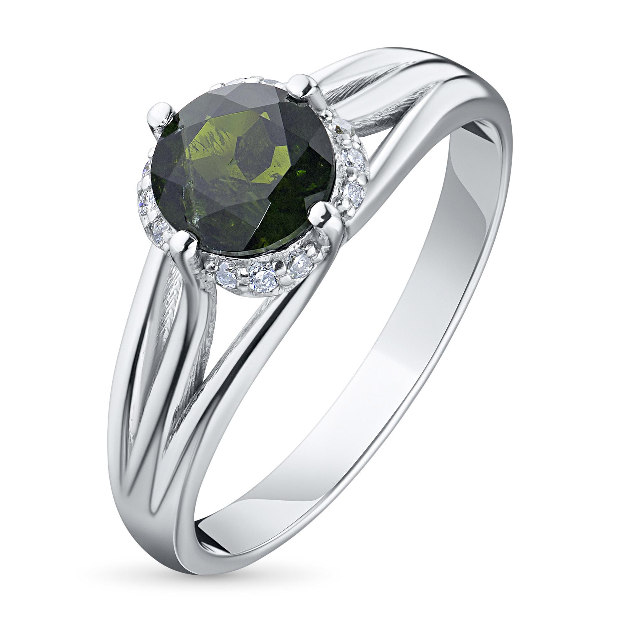 Кольцо из белого золота с бриллиантом и хромдиопсидом тд09к051807х