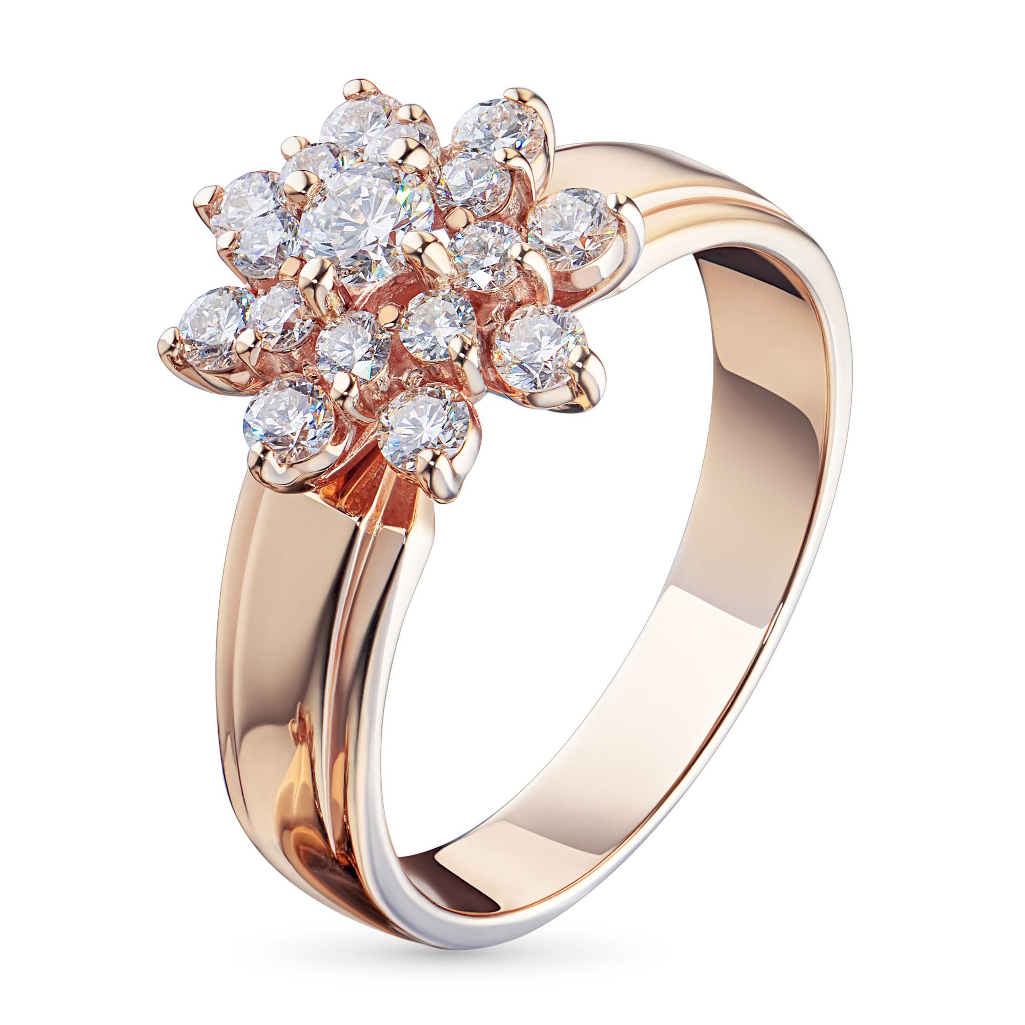 Кольцо из красного золота с бриллиантами э02к091604