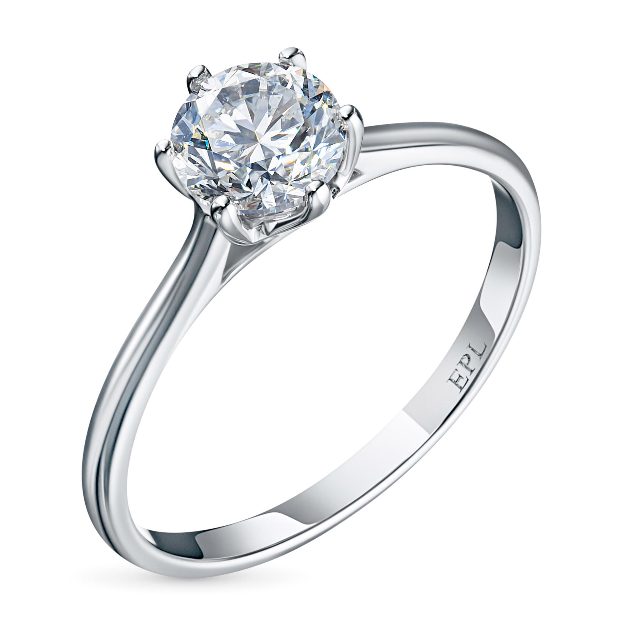 Кольцо из белого золота с бриллиантом э0901кц07200752 э0901кц07200752