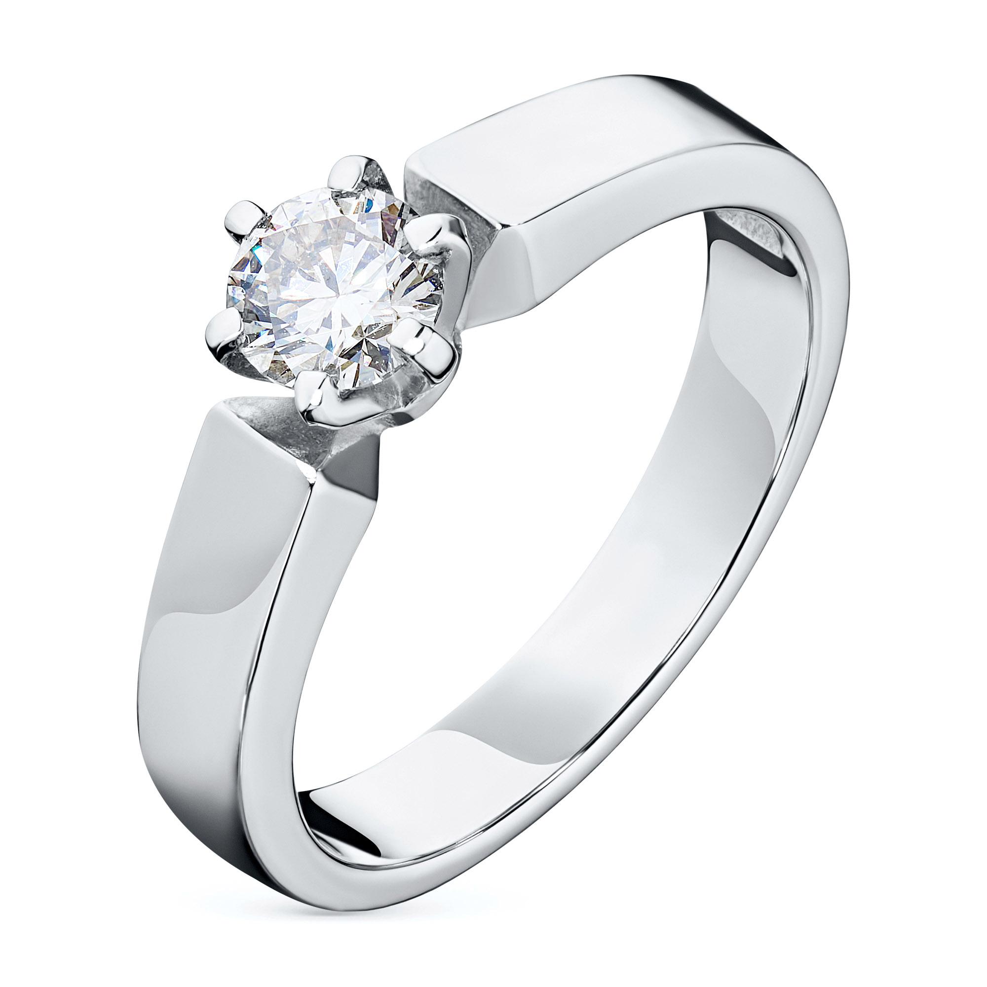 Кольцо из белого золота с бриллиантом э09к051662
