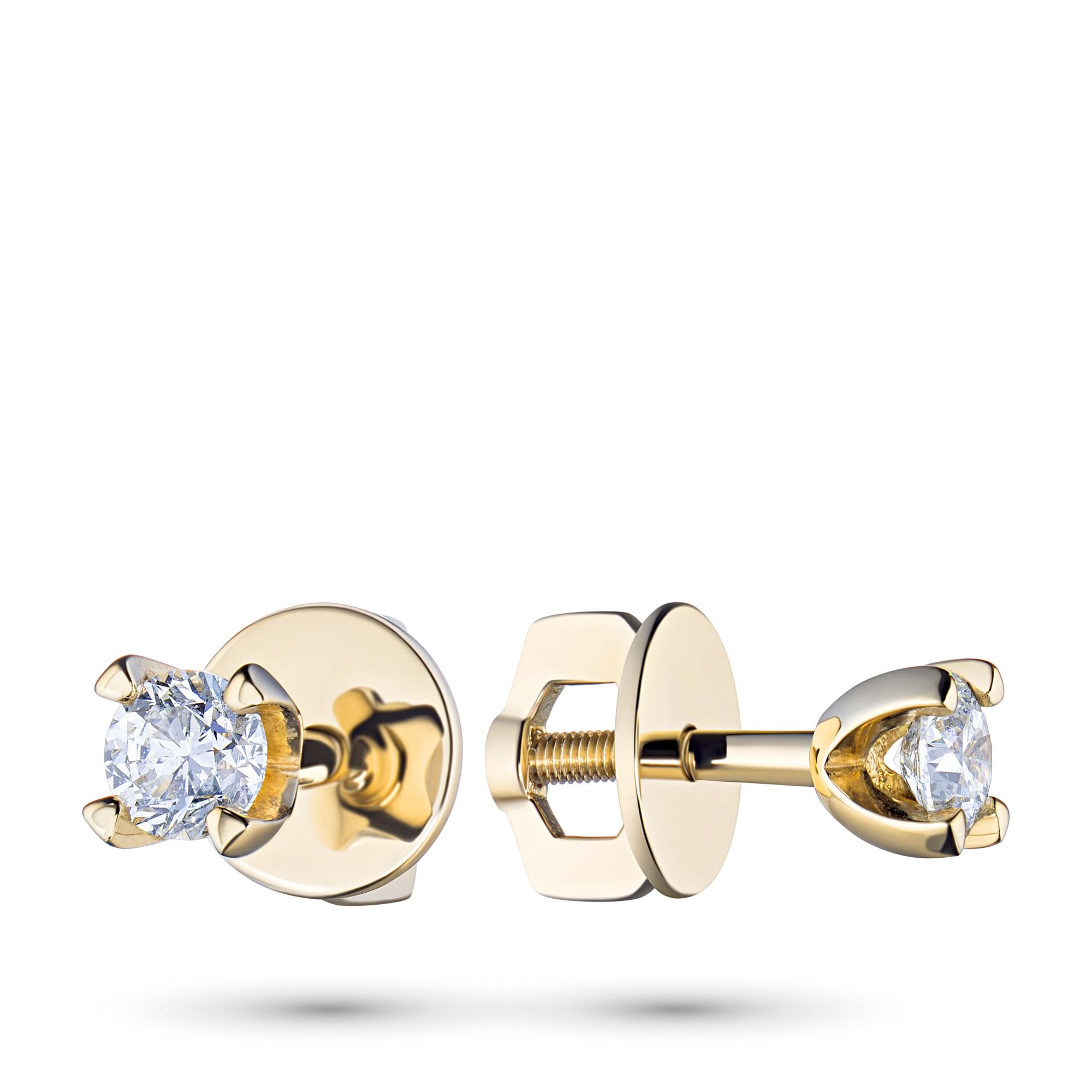 Пусеты из желтого золота с бриллиантами п03с041529