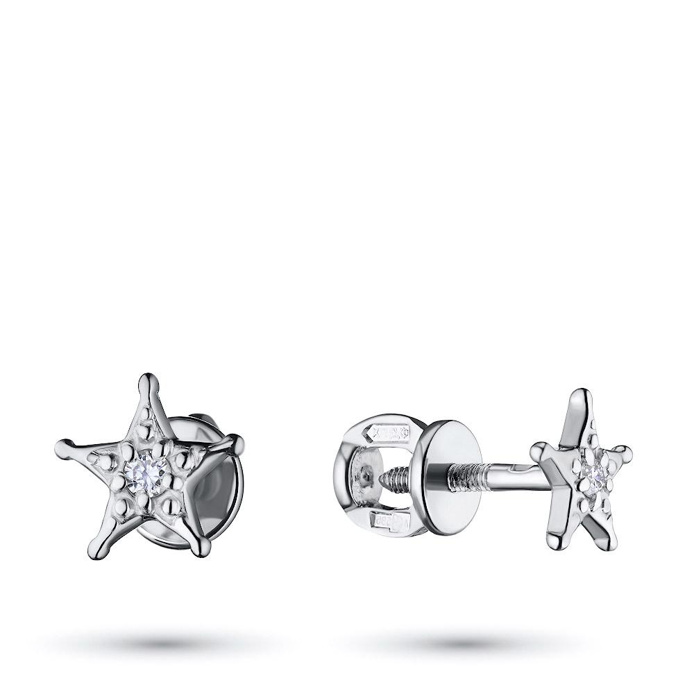 Пусеты из серебра с бриллиантом экп06с051730