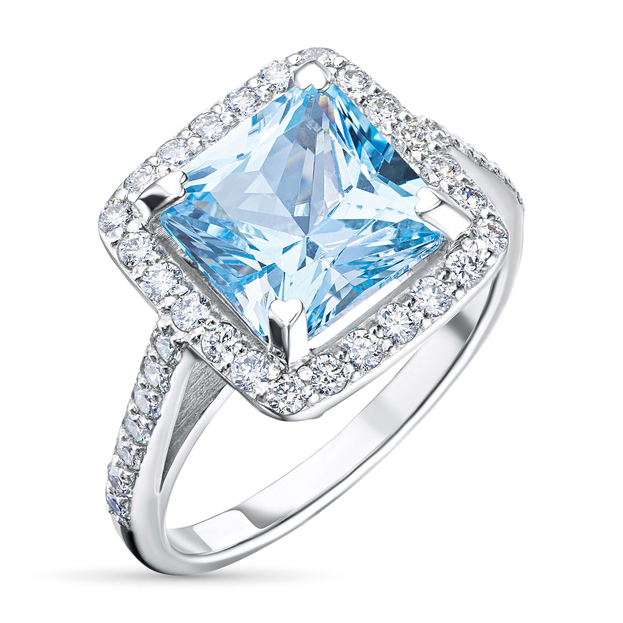 Кольцо из золота с бриллиантом и топазом э0943кц022104540