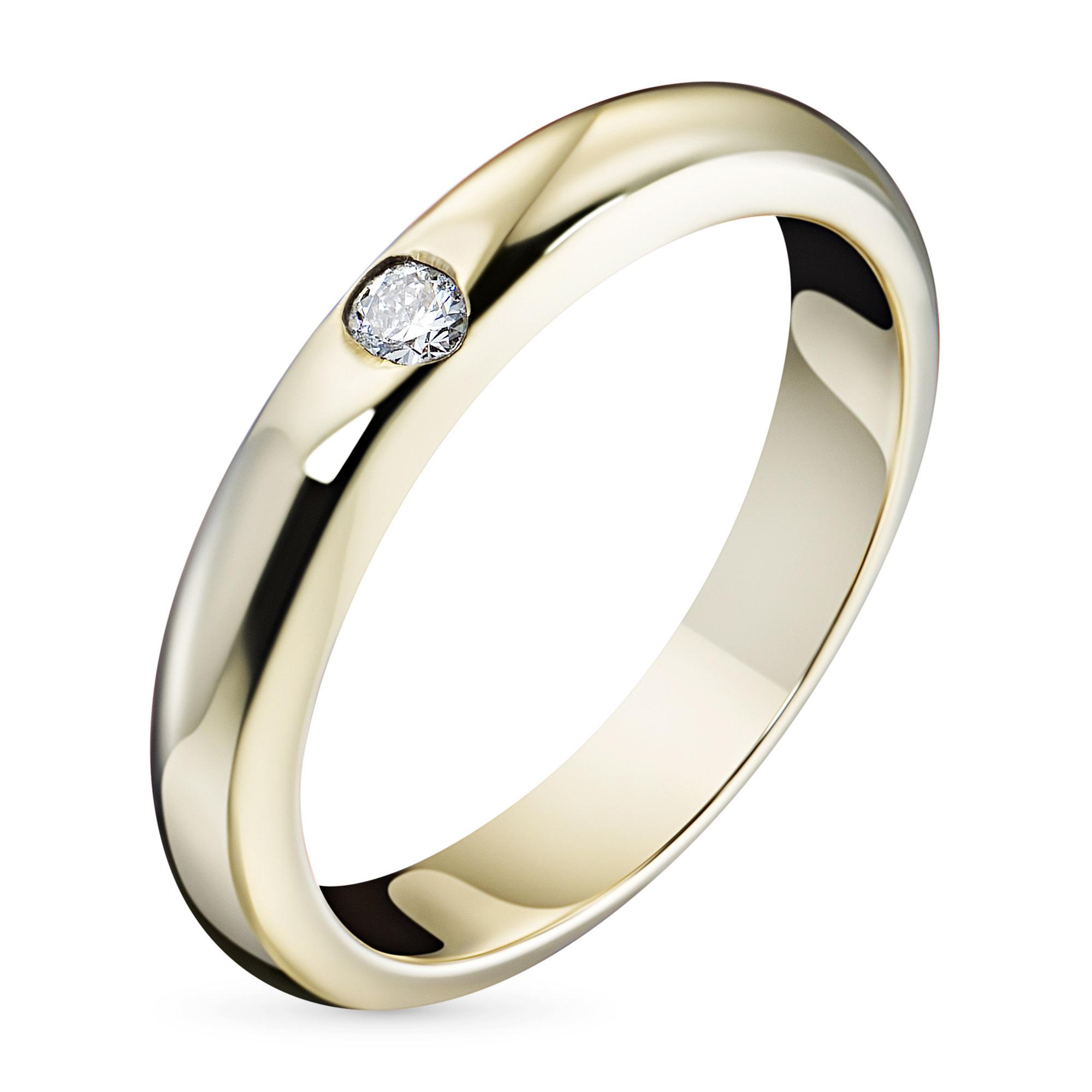 Кольцо из желтого золота с бриллиантом э03к081104, э03к081104