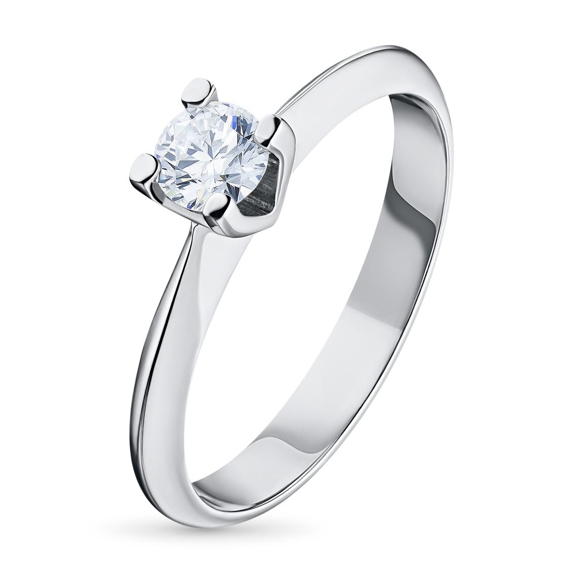 Кольцо из белого золота с бриллиантом э09к040912
