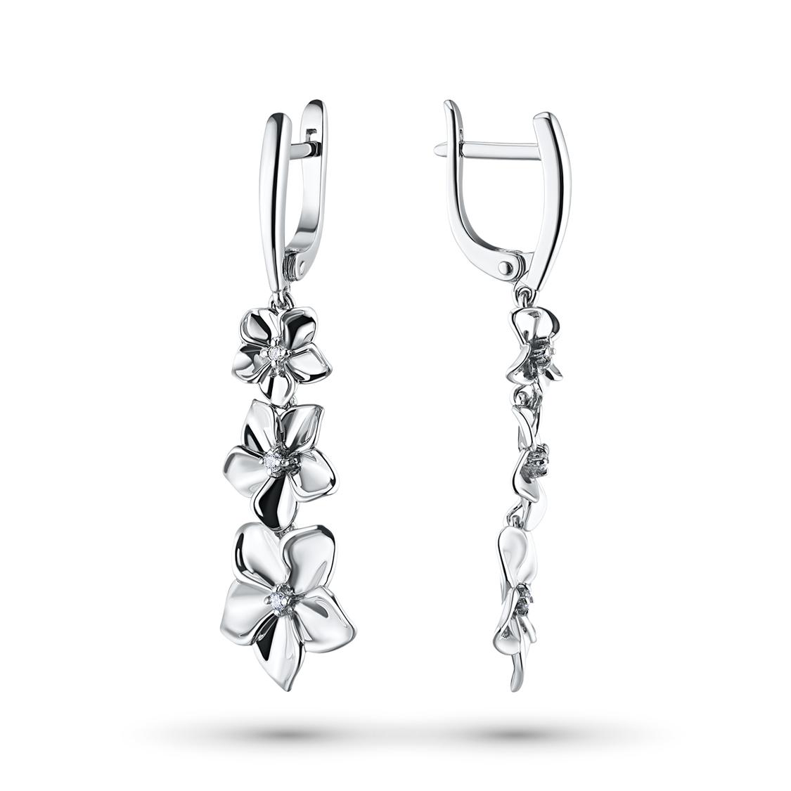 Серьги из серебра с бриллиантами э06с011730