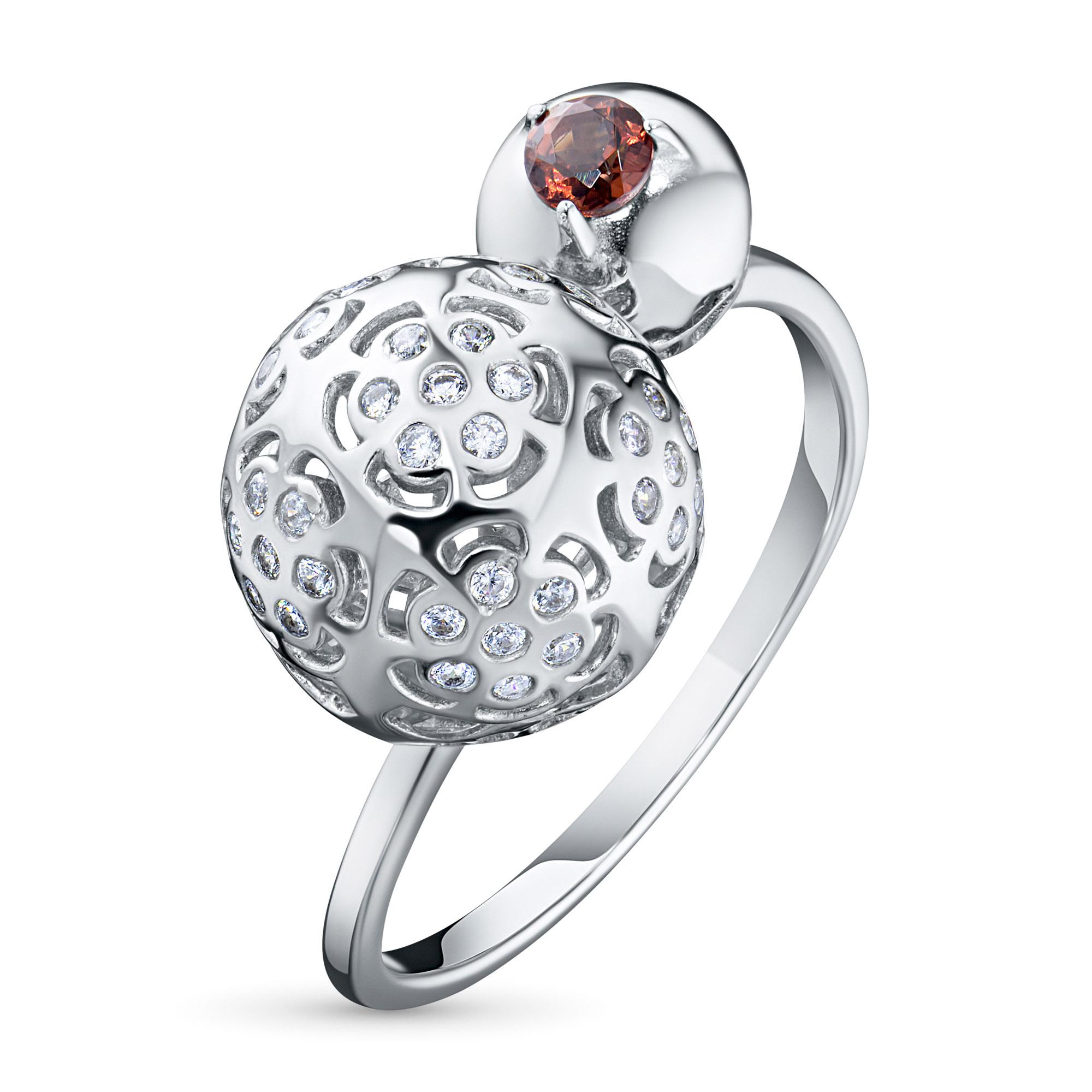 Кольцо из серебра с гранатом и фианитом э0606кц04200034 фото