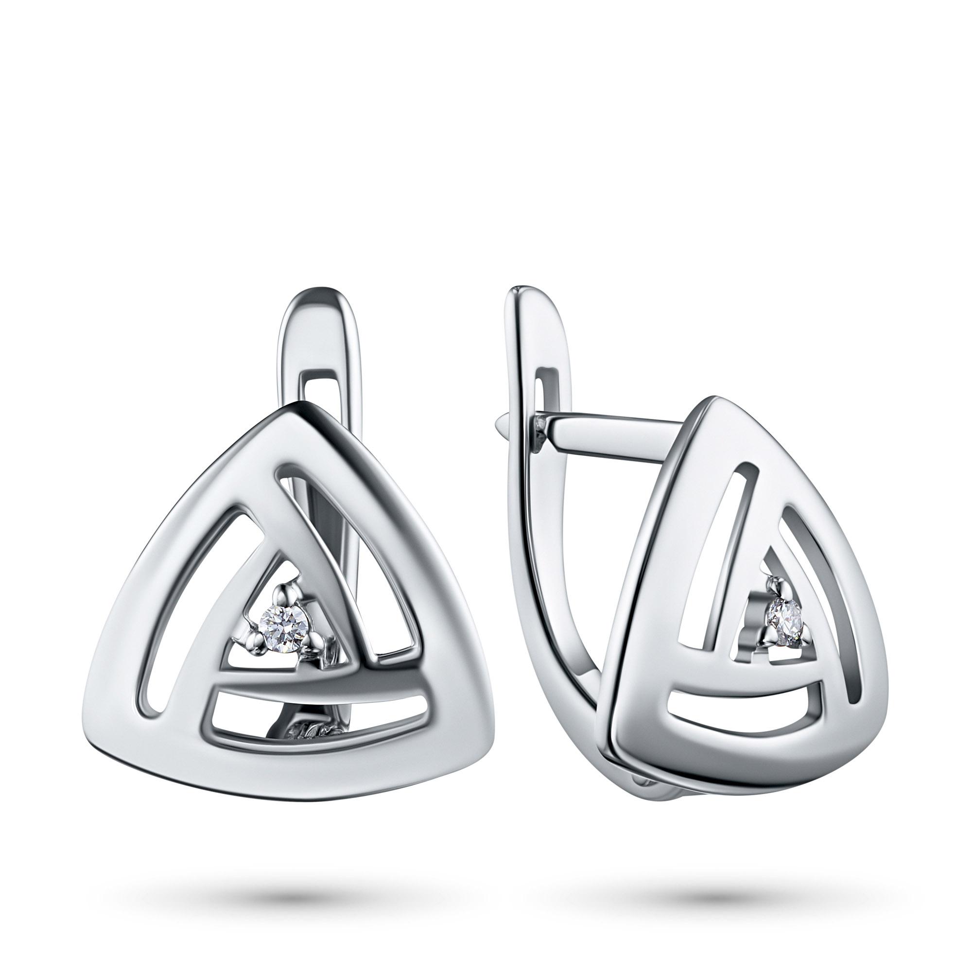 Серьги из серебра с бриллиантом э0601сг06200109 э0601сг06200109