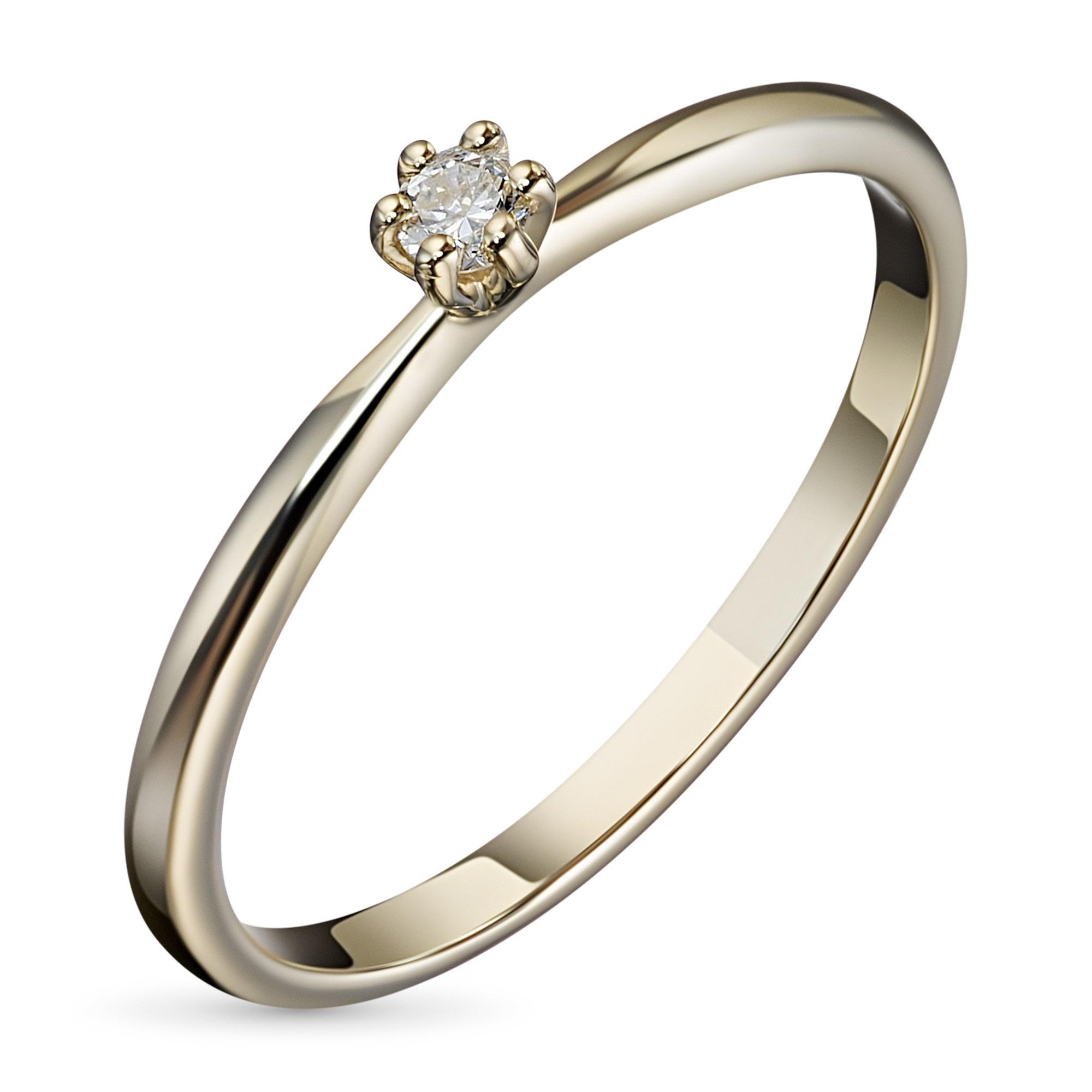 Кольцо из желтого золота с бриллиантом э0301кц03201030