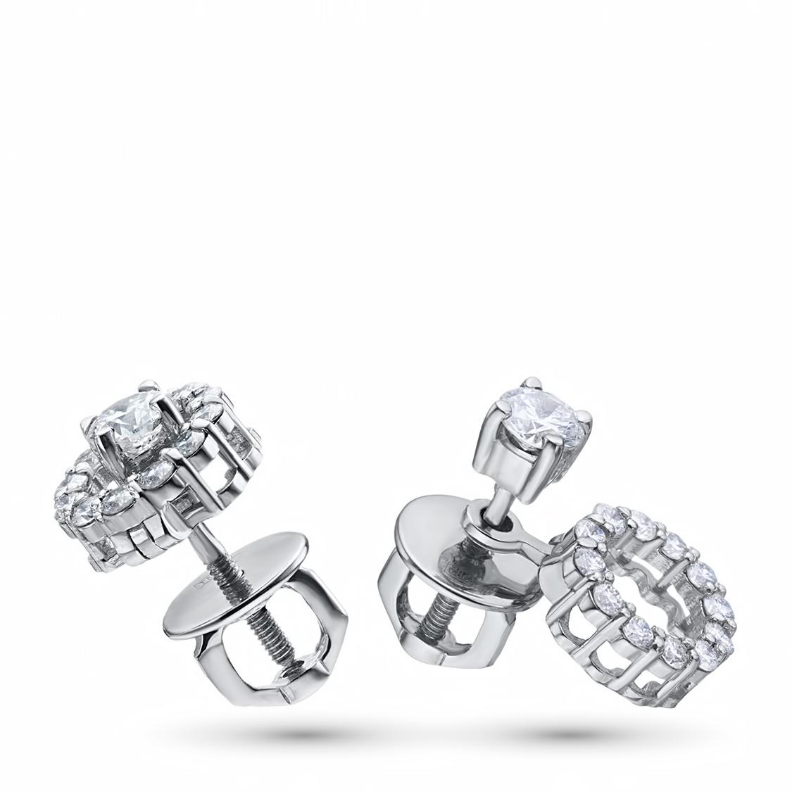 Пусеты из белого золота с бриллиантами п09с101749
