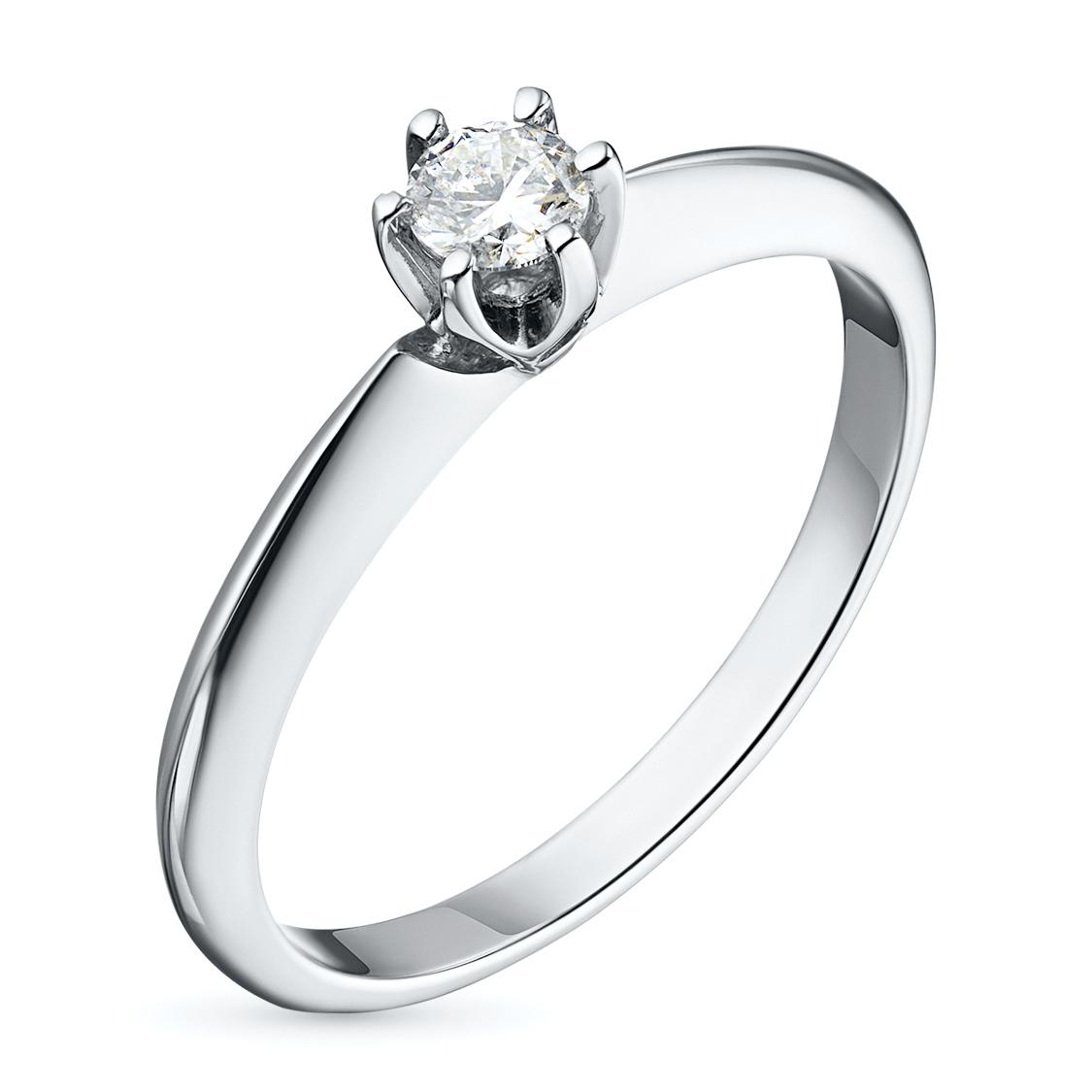 Кольцо из белого золота с бриллиантом э09к051531