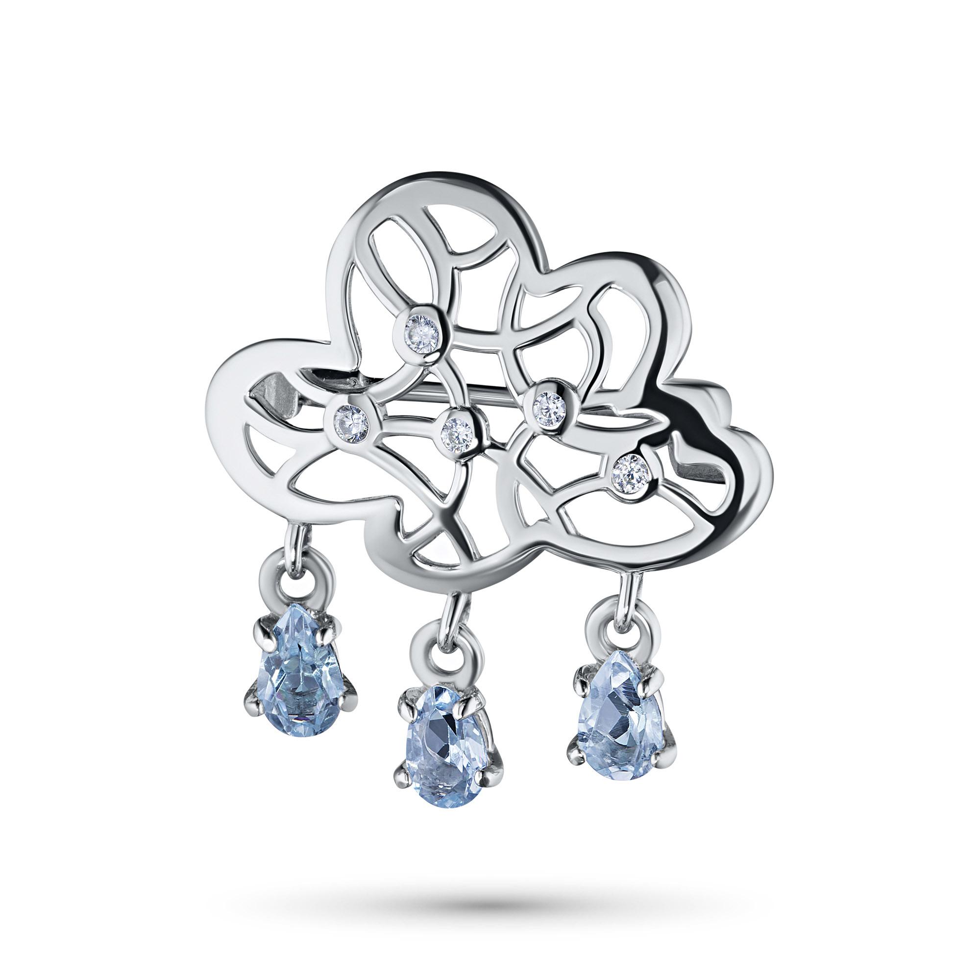Брошь из серебра с топазом и фианитом э0609бш04200618