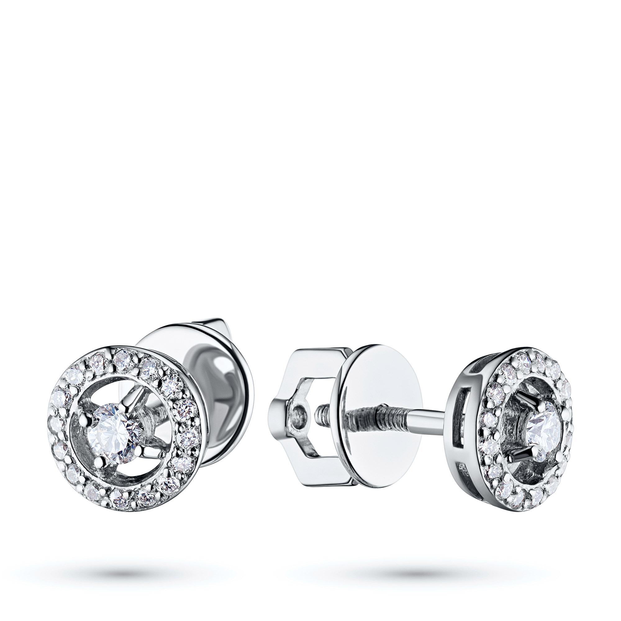 Пусеты из белого золота с бриллиантами п09с101774