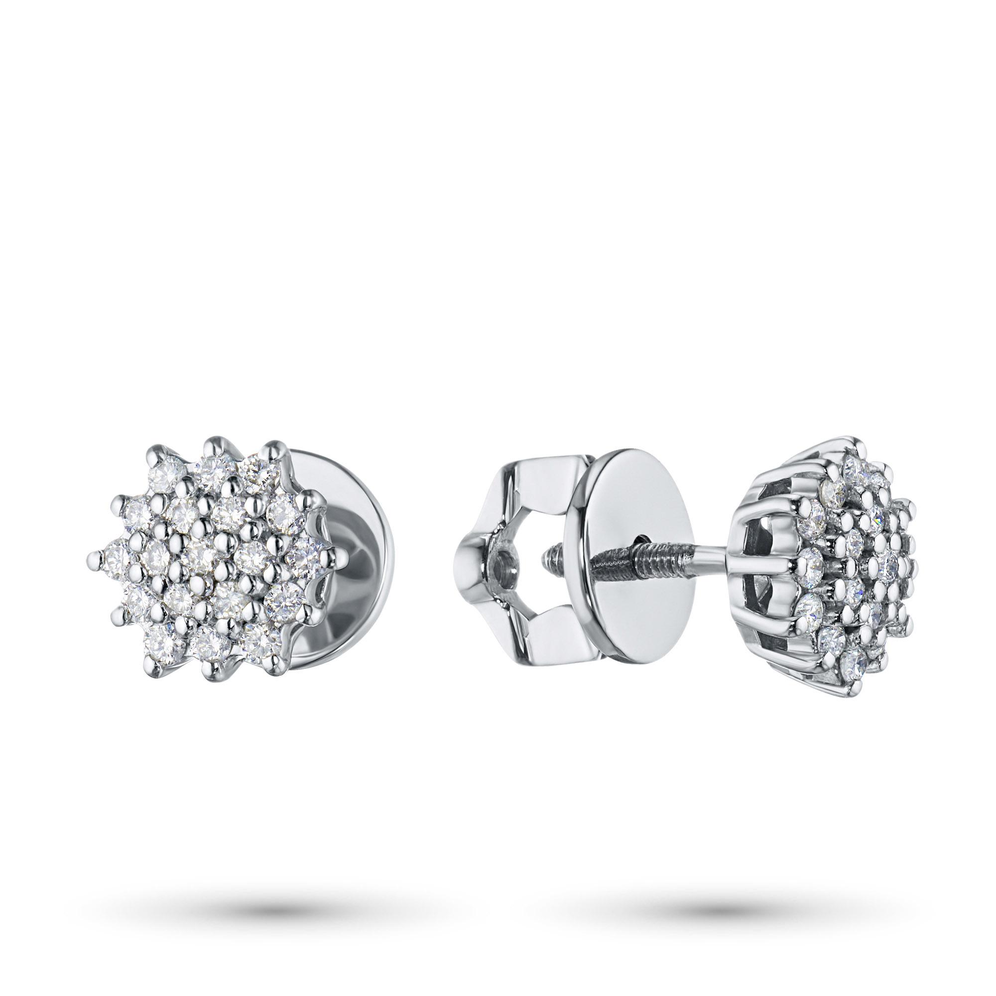 Пусеты из белого золота с бриллиантами п09с051659