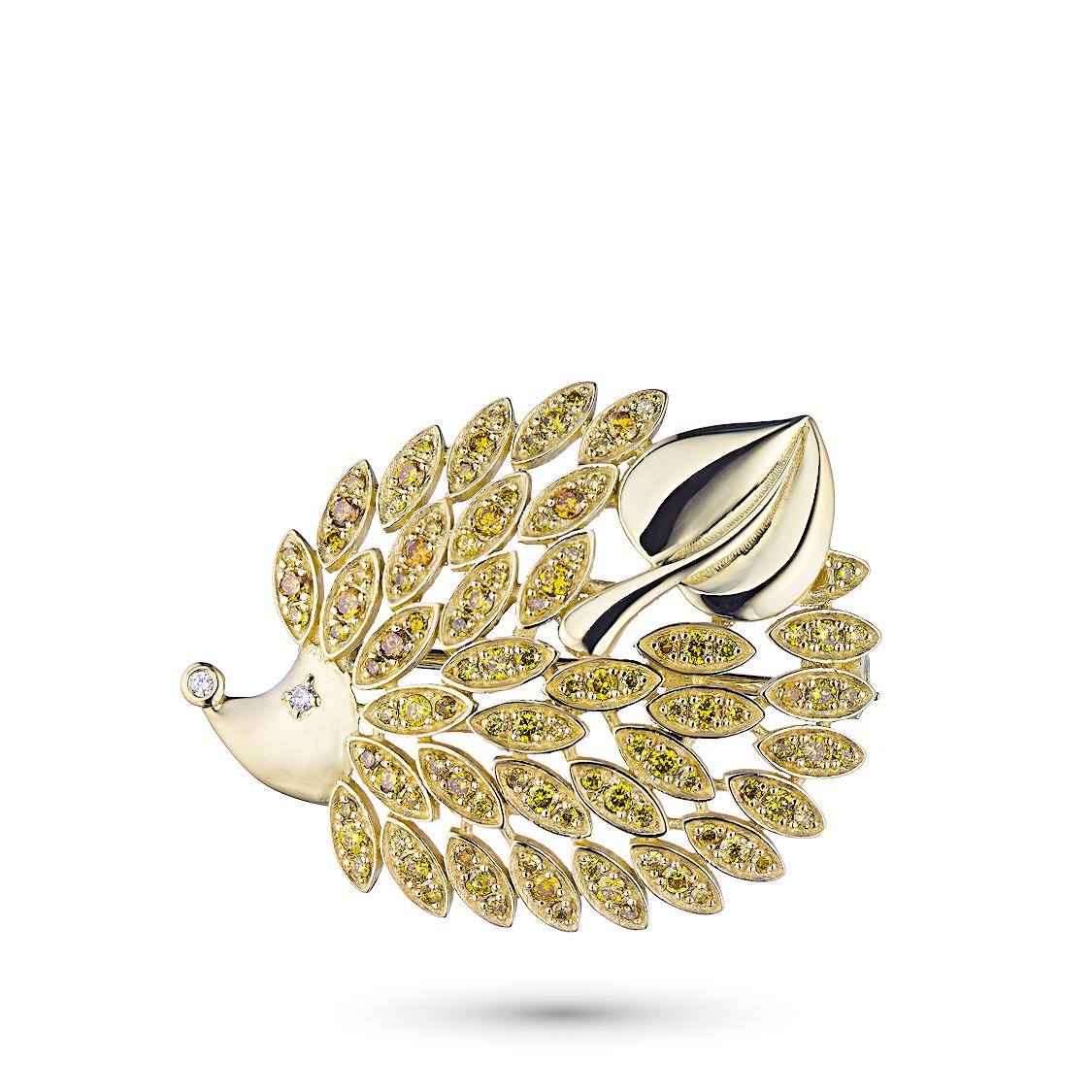 Купить со скидкой Брошь из желтого золота с бриллиантами жд03бш111701