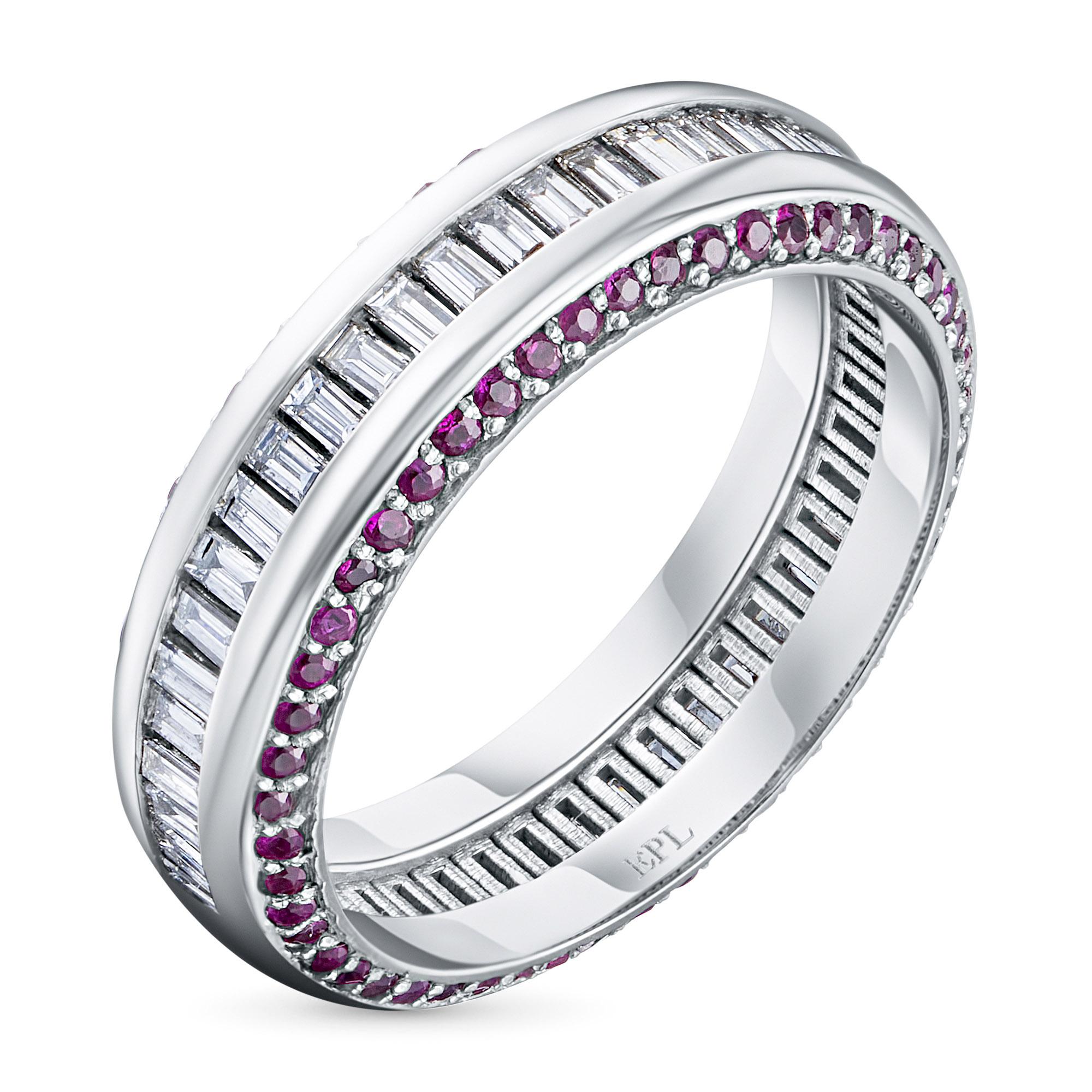 Кольцо из белого золота с рубином и бриллиантами э0939кц12200423