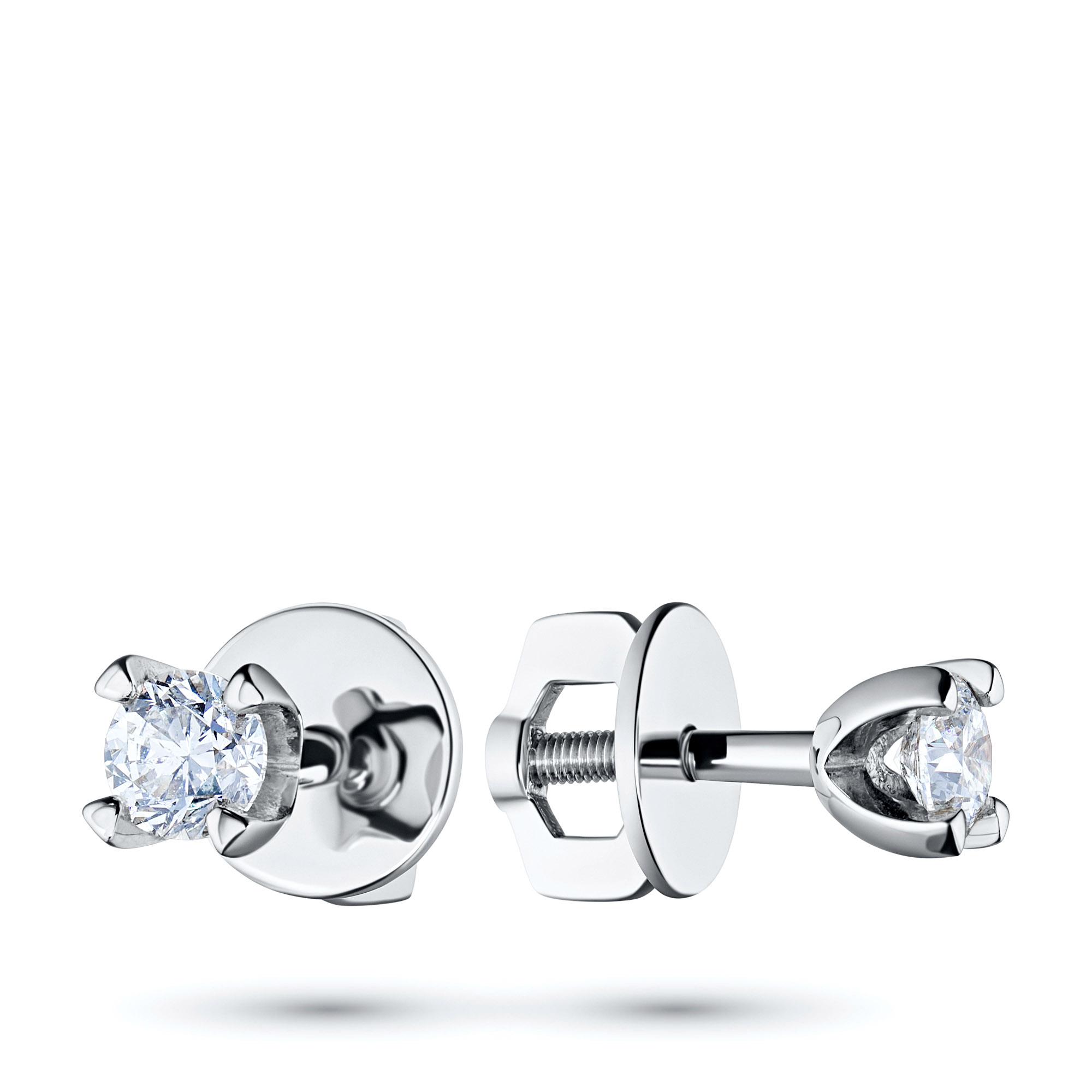 Пусеты из белого золота с бриллиантами п09с041529