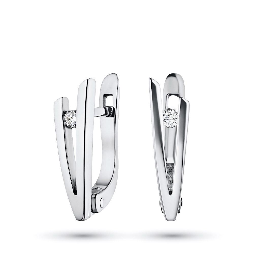 Серьги из серебра с бриллиантом э06с051573