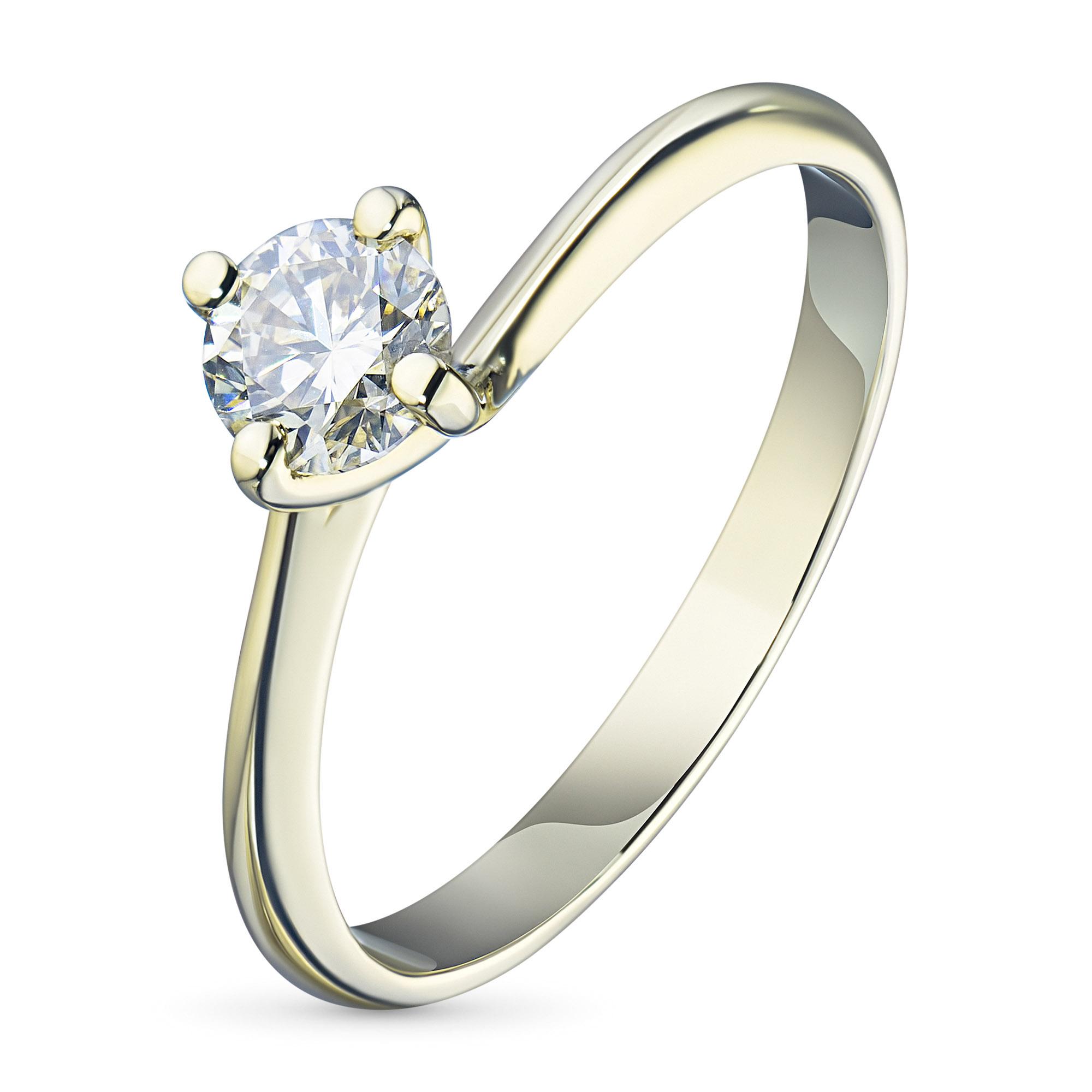 Кольцо из желтого золота с бриллиантом азм03к101622