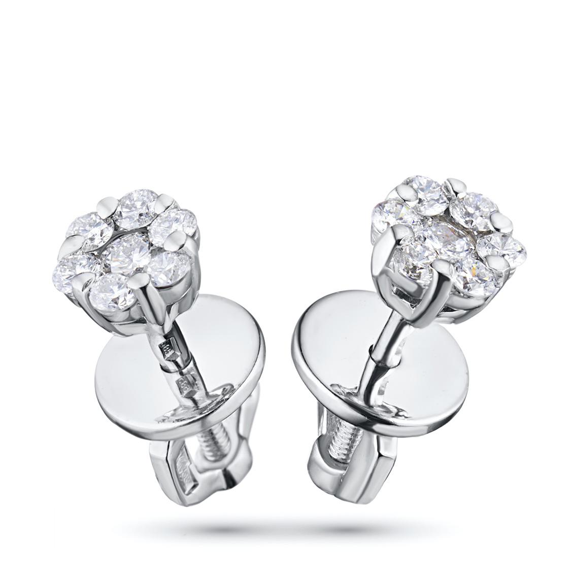 Пусеты из белого золота с бриллиантами п09с041528