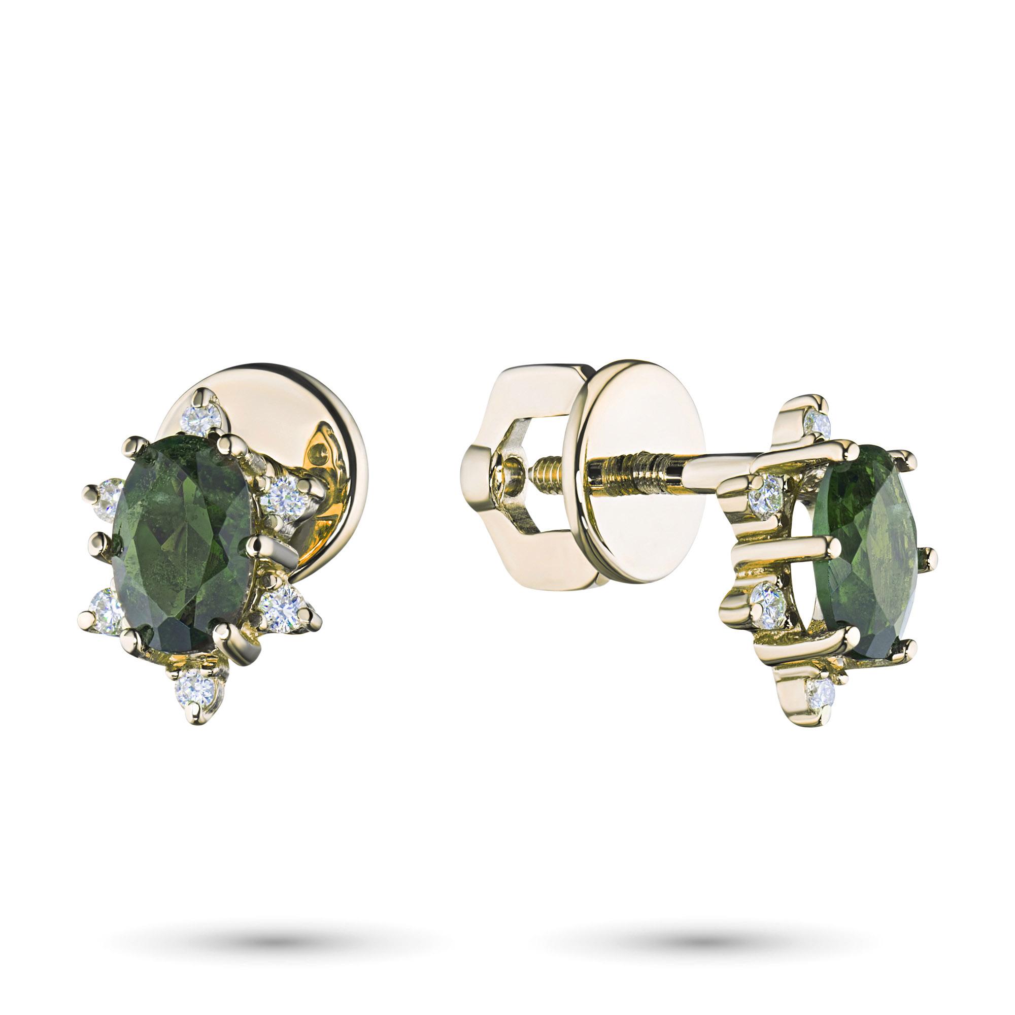Пусеты из желтого золота с бриллиантом и хромдиопсидом э0301пс04200725 фото